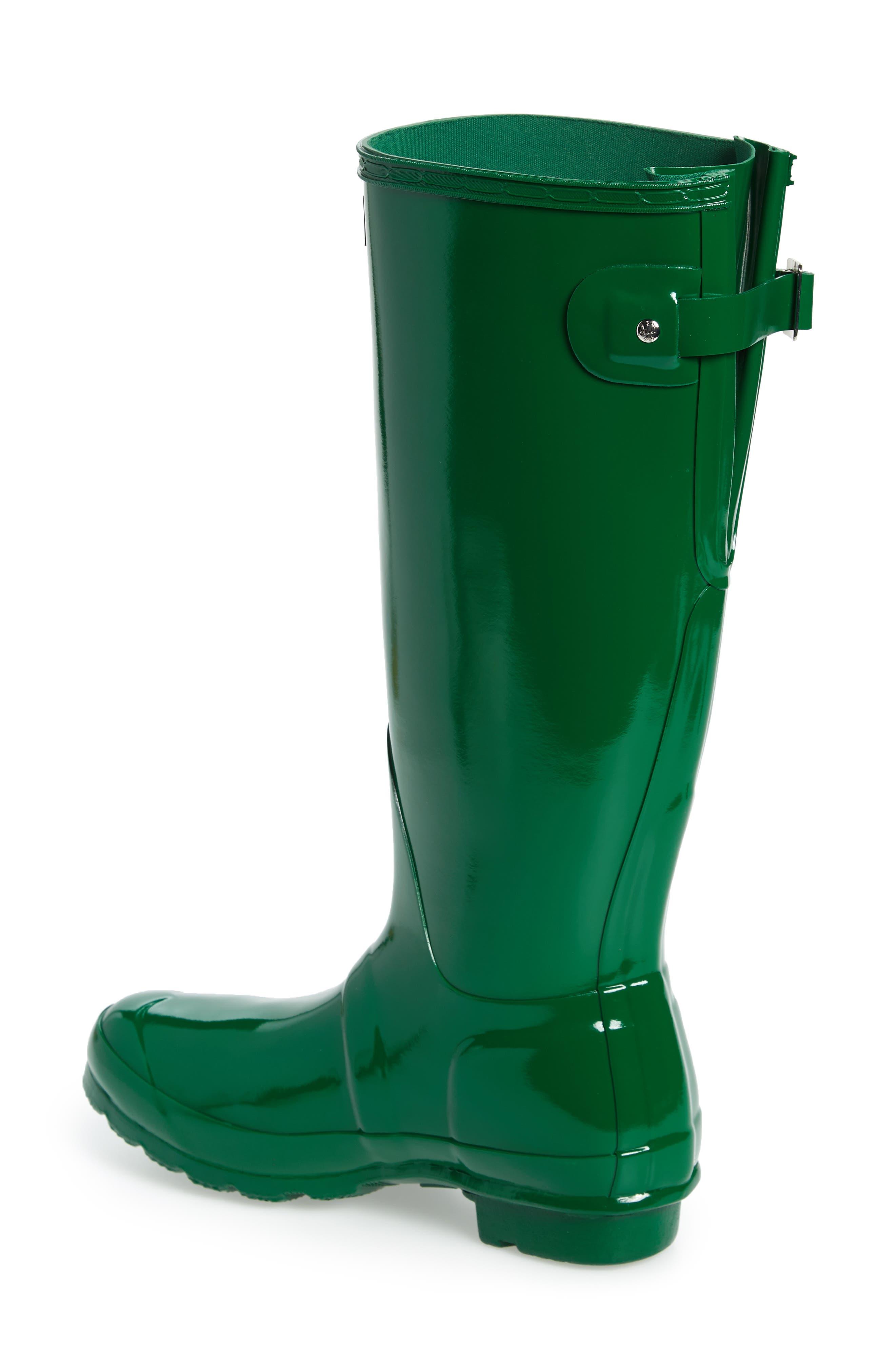 Adjustable Back Gloss Waterproof Rain Boot,                             Alternate thumbnail 2, color,                             360