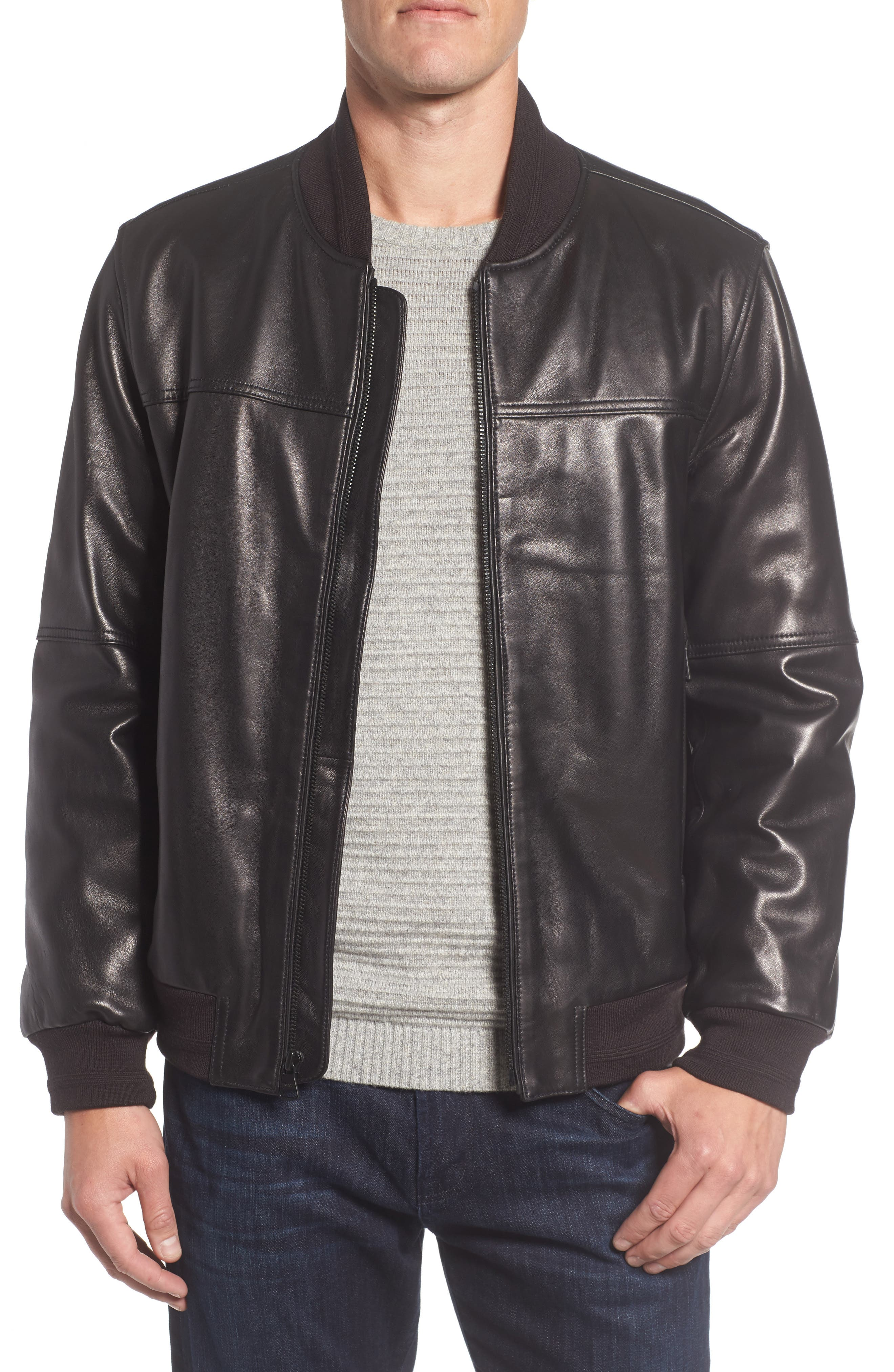 Summit Leather Bomber Jacket,                         Main,                         color, 001