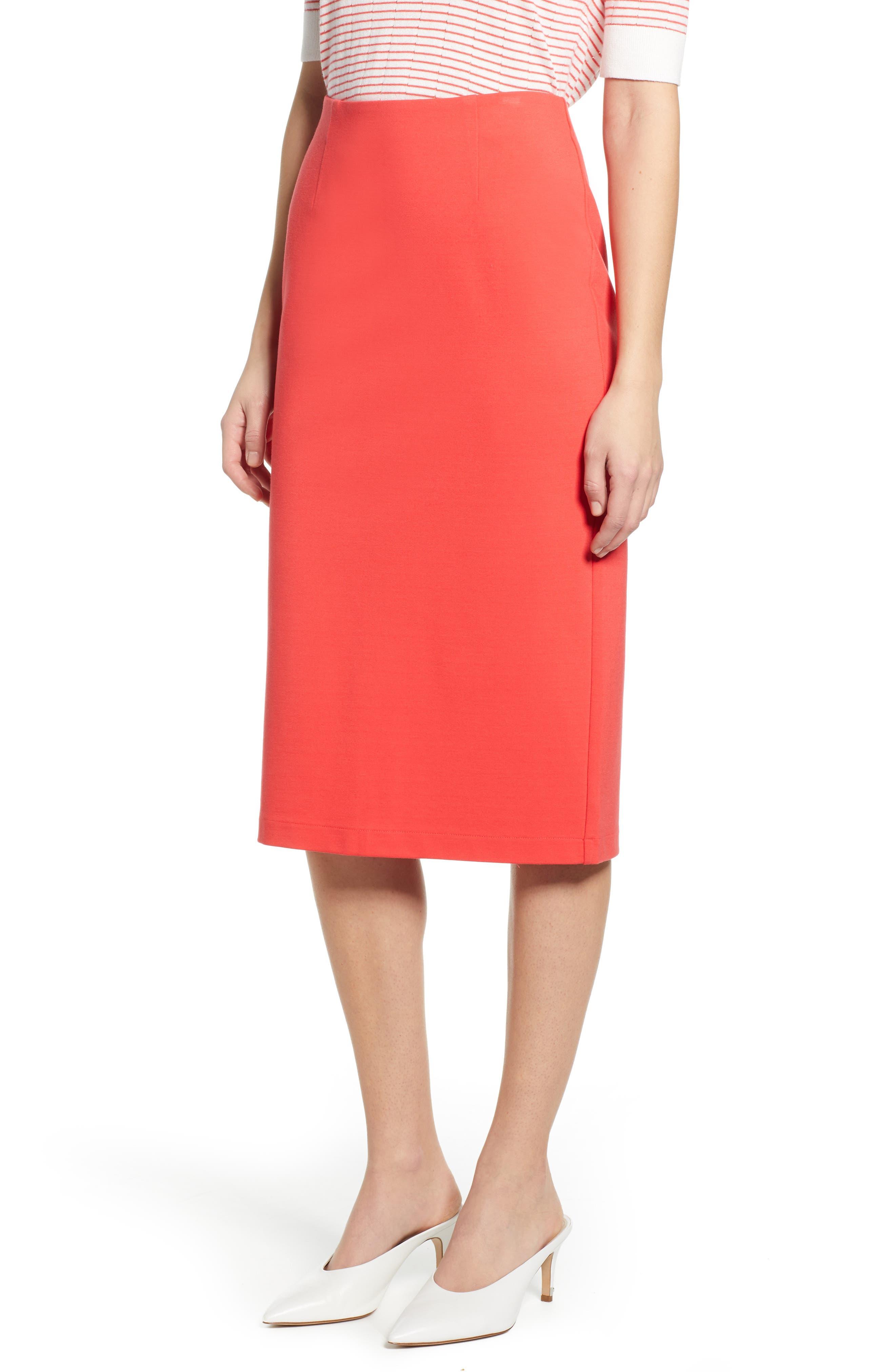 Petite Halogen Ponte Pencil Skirt, Red
