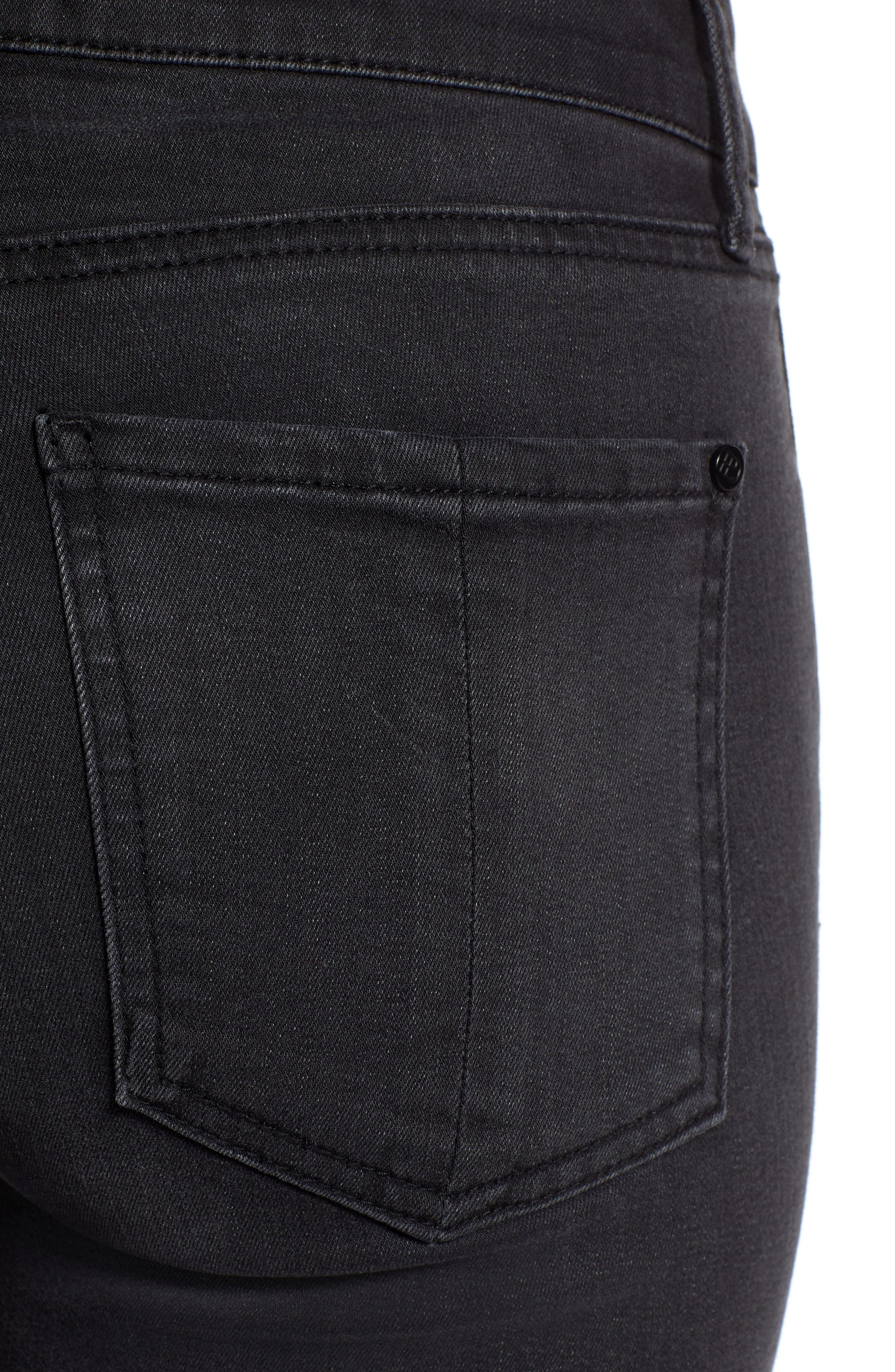 Crop Flare Jeans,                             Alternate thumbnail 4, color,                             BLACK