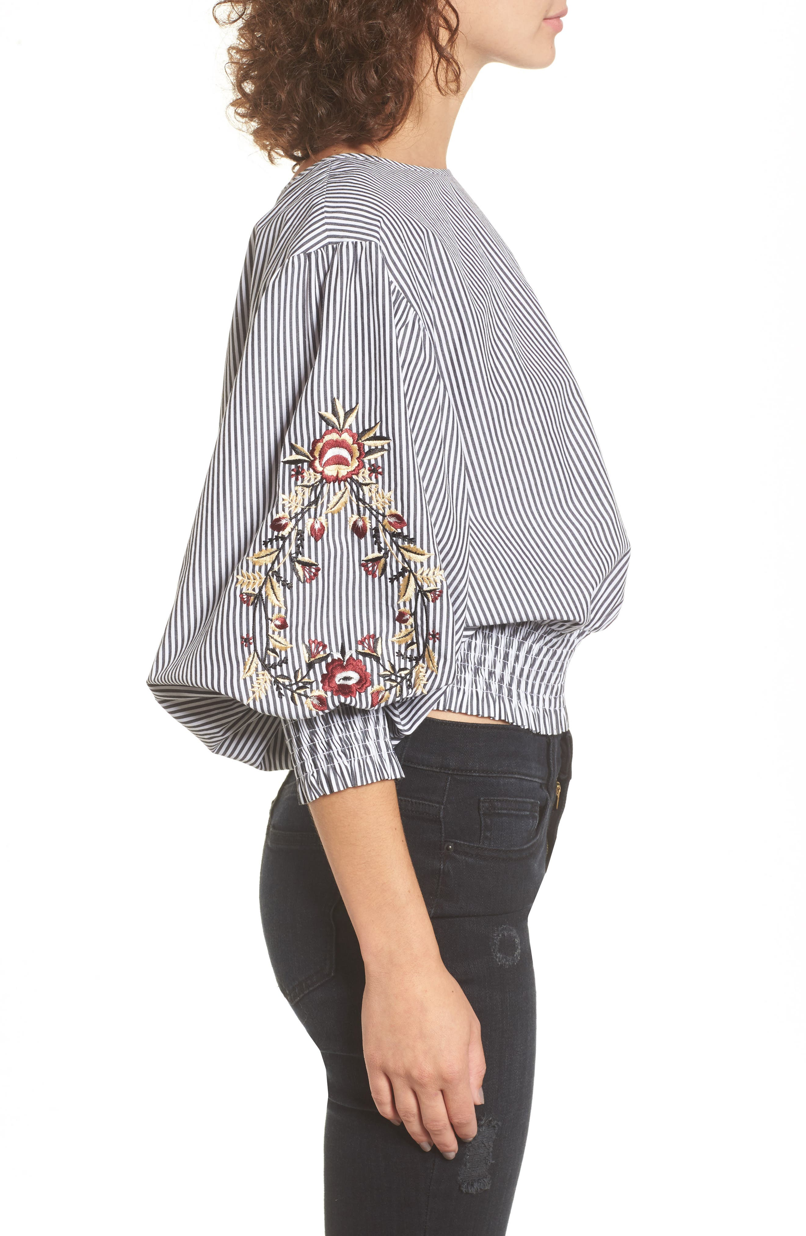 Embroidered Puff Sleeve Crop Top,                             Alternate thumbnail 3, color,                             001