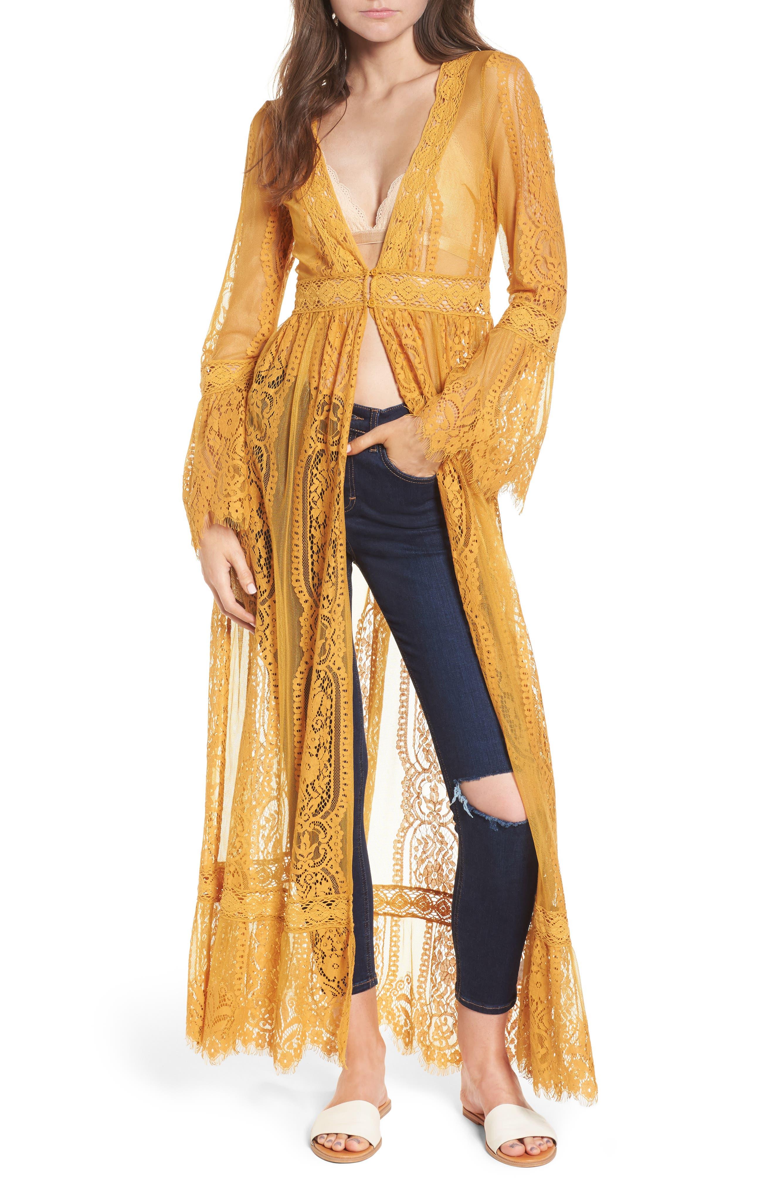 Bell Sleeve Lace Kimono,                             Main thumbnail 1, color,                             MUSTARD