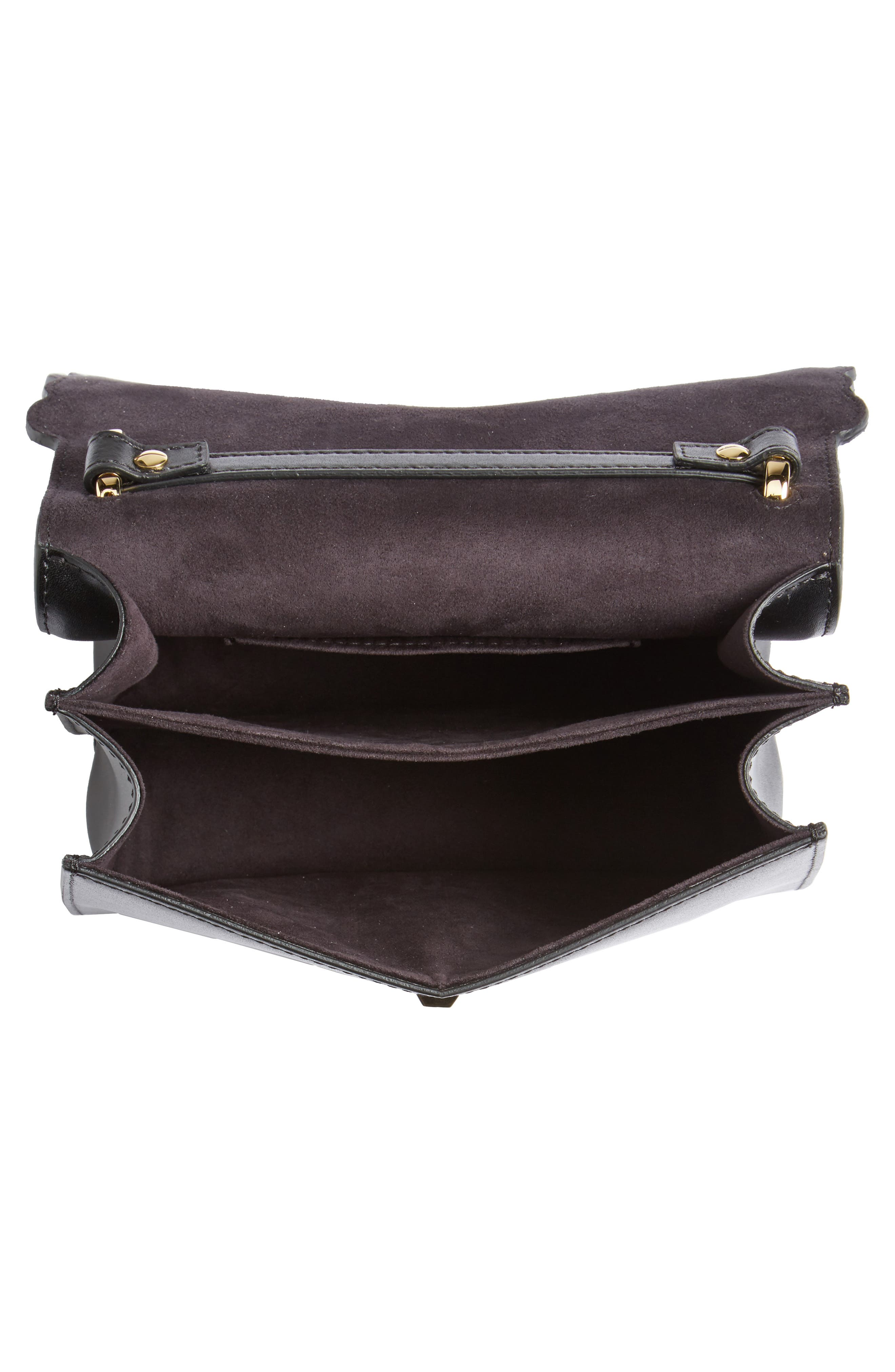 Small Kan I Scallop Leather Shoulder Bag,                             Alternate thumbnail 4, color,                             NERO/ ORO SOFT