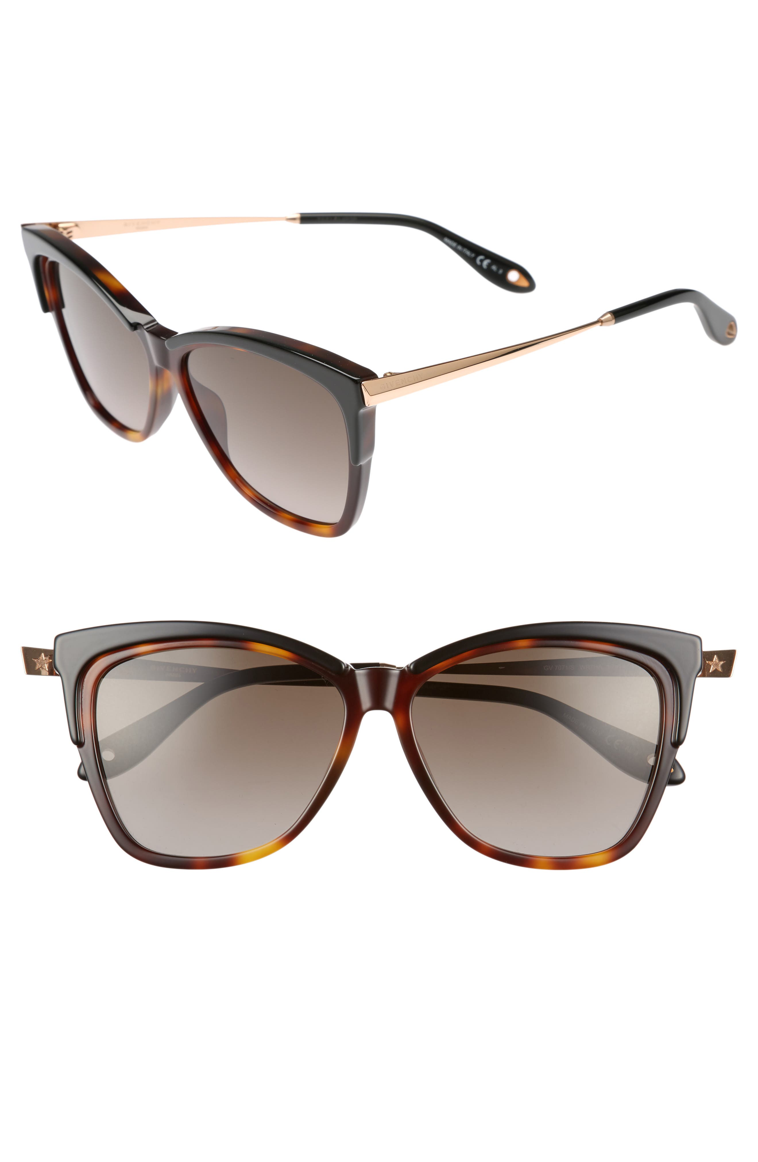 57mm Cat Eye Sunglasses,                         Main,                         color, DARK HAVANA
