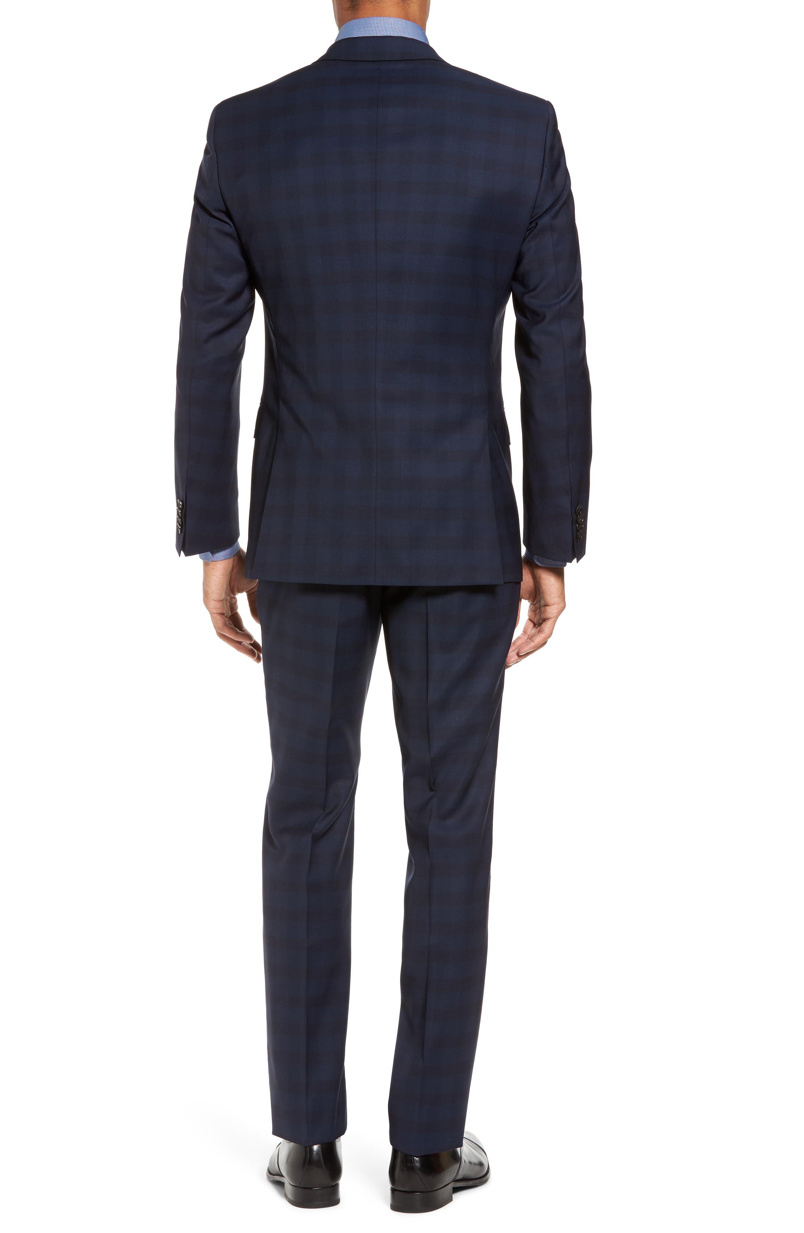 Huge/Genius Trim Fit Plaid Wool Suit,                             Alternate thumbnail 2, color,