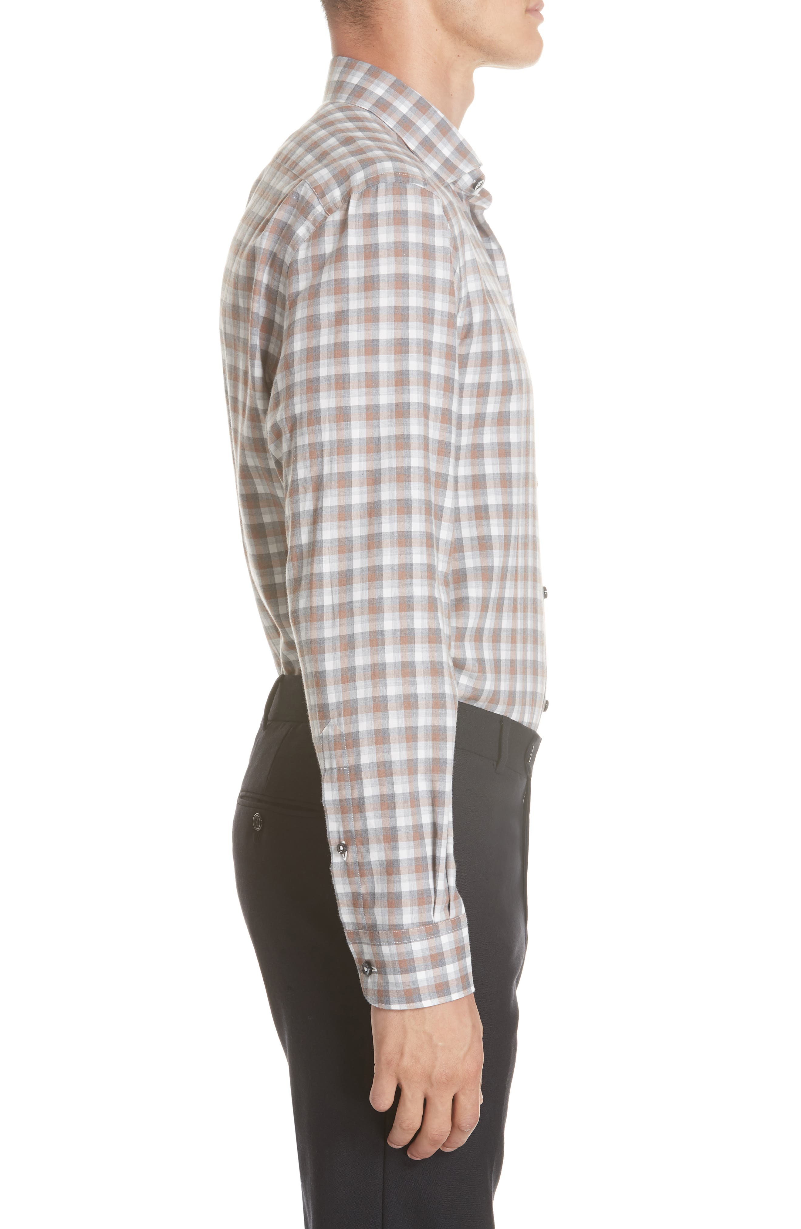 Classic Fit Check Sport Shirt,                             Alternate thumbnail 4, color,                             BROWN