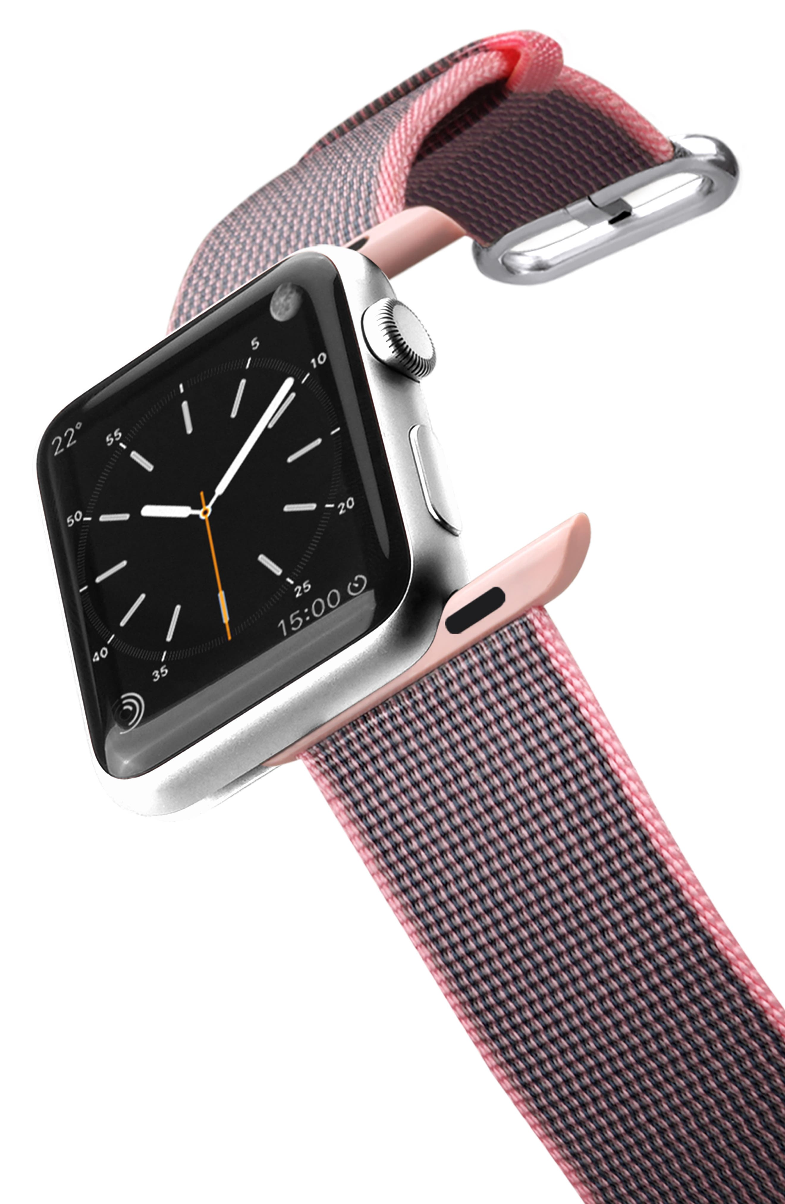Nylon Apple Watch Strap,                             Alternate thumbnail 3, color,                             PINK/ ROSE GOLD