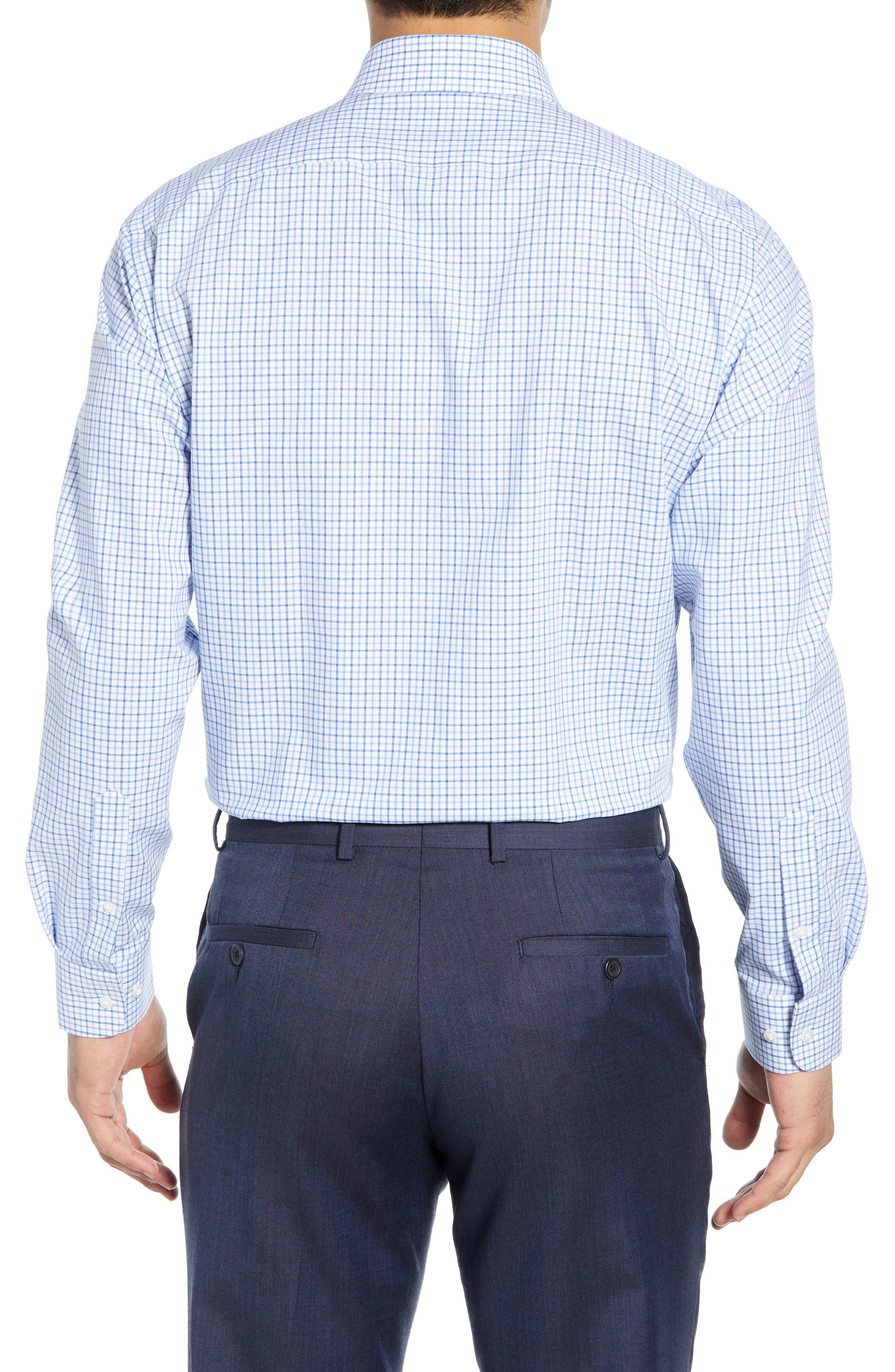 NORDSTROM MEN'S SHOP,                             Tech-Smart Traditional Fit Check Stretch Dress Shirt,                             Alternate thumbnail 3, color,                             BLUE VICTORIA