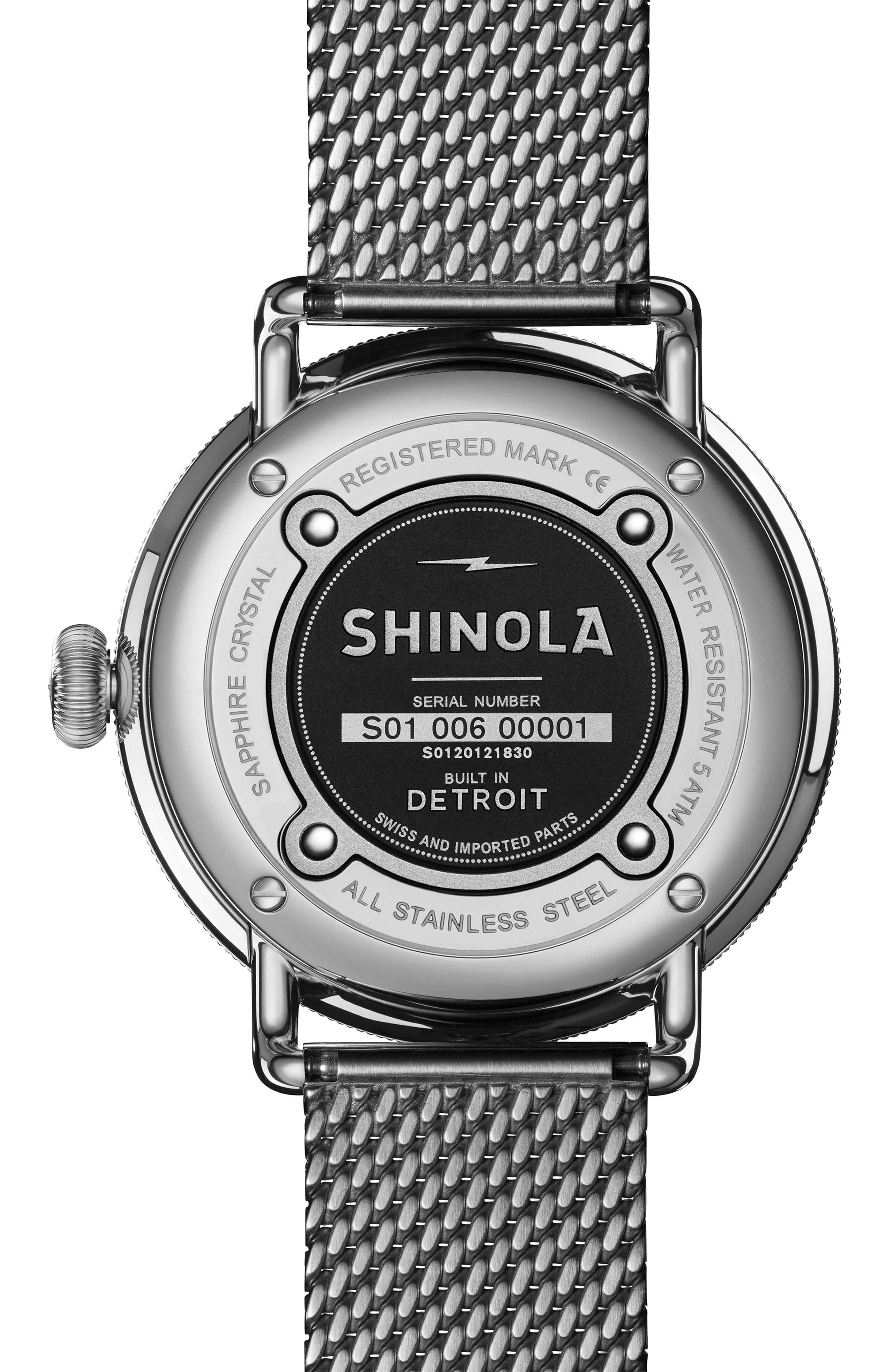 The Canfield Mesh Bracelet Watch, 43mm,                             Alternate thumbnail 2, color,                             GUNMETAL/ BLACK/ GUNMETAL