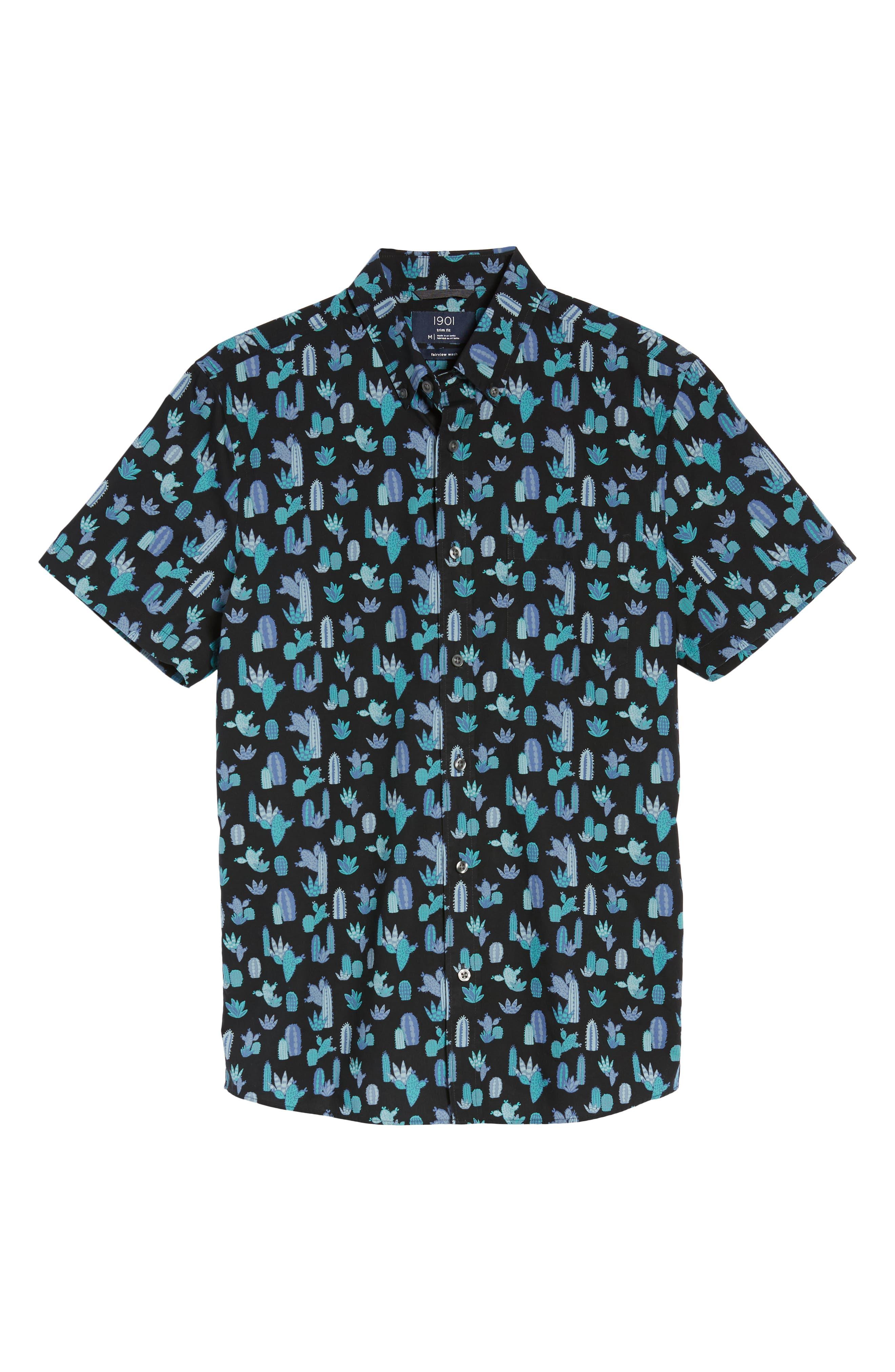 Trim Fit Cactus Print Sport Shirt,                             Alternate thumbnail 6, color,                             021