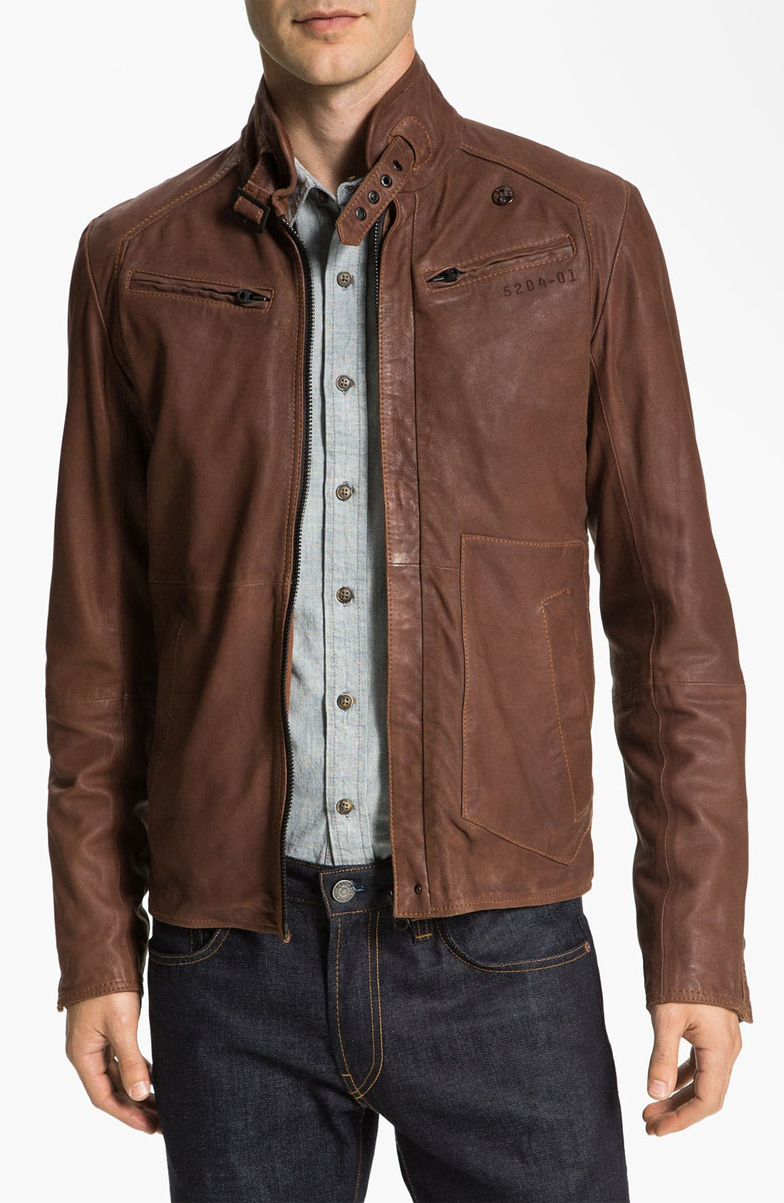 Leather Jacket,                             Main thumbnail 1, color,                             210