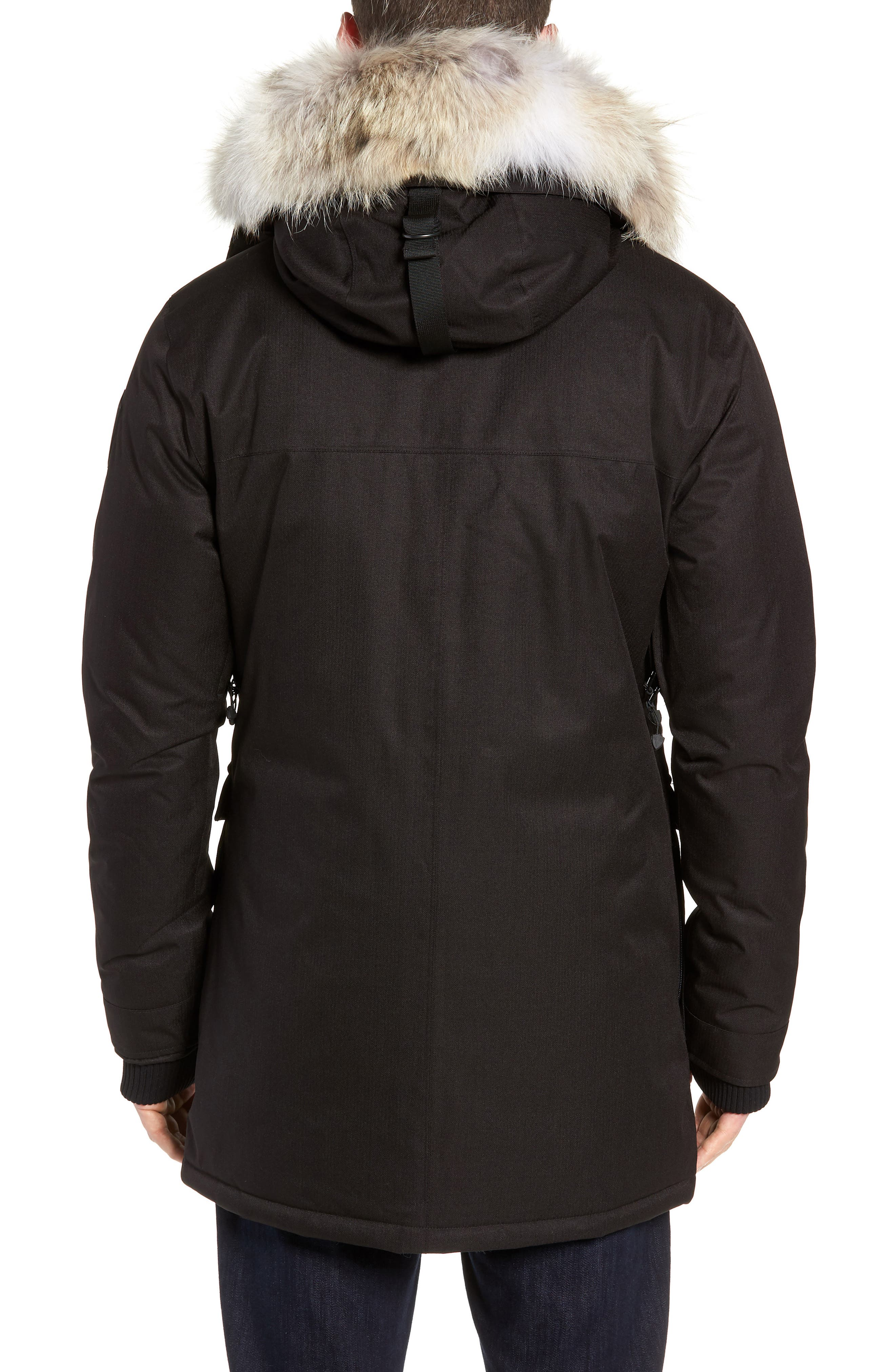 Yves Windproof & Waterproof 650 Fill Power Down Parka with Genuine Coyote Fur Trim,                             Alternate thumbnail 3, color,                             BLACK