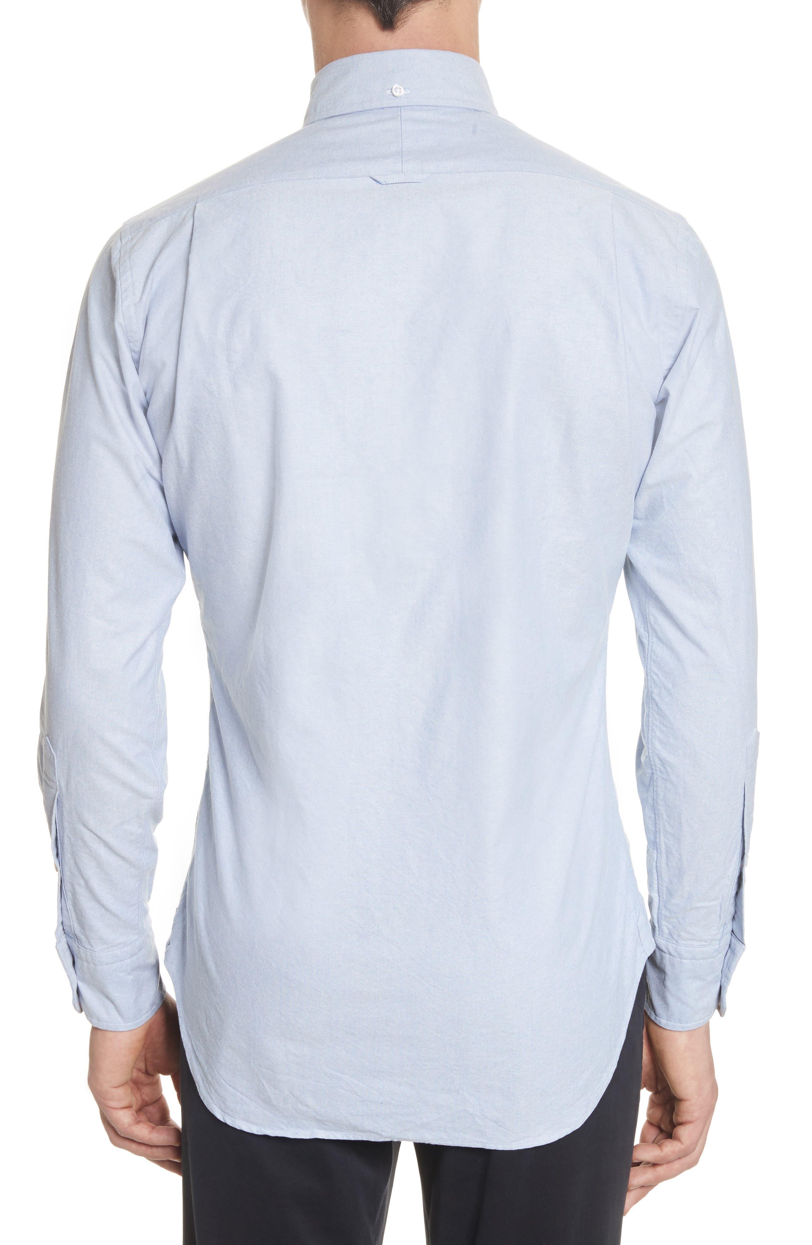 Extra Trim Fit Oxford Shirt with Grosgrain Trim,                             Alternate thumbnail 3, color,                             LIGHT BLUE