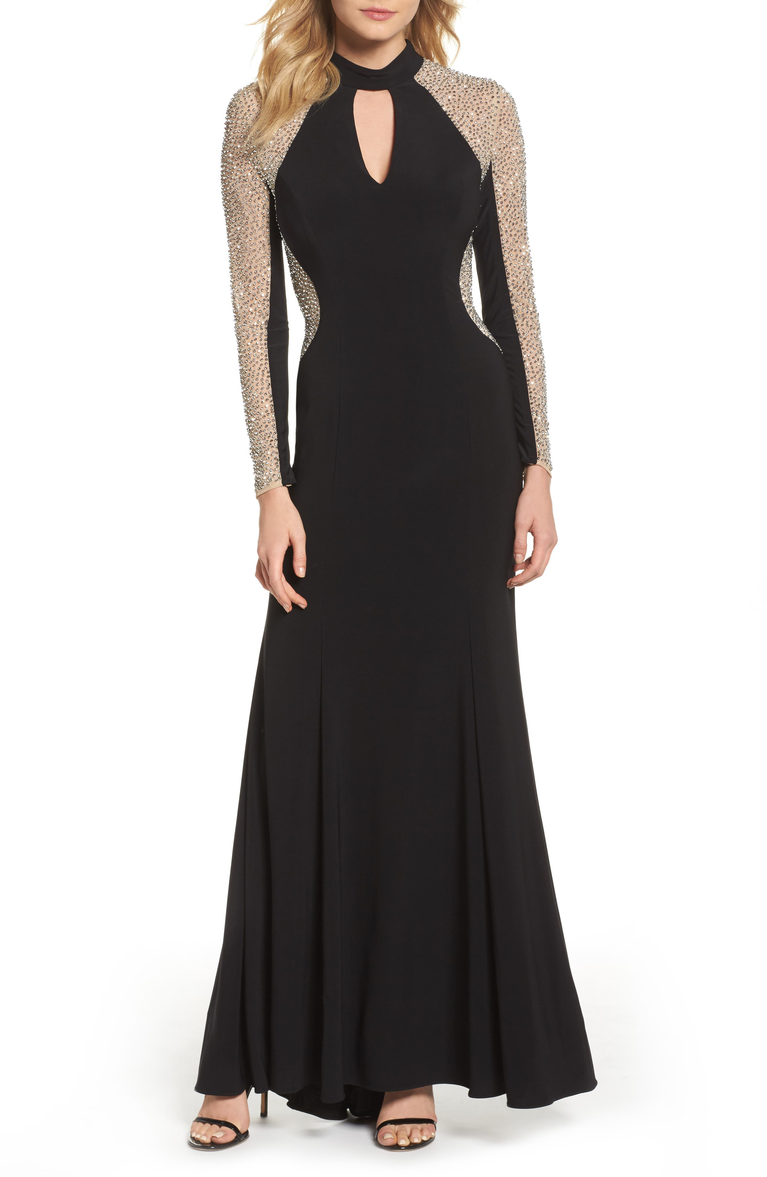 Beaded Choker Neck Gown,                             Main thumbnail 1, color,                             BLACK/ NUDE/ SILVER