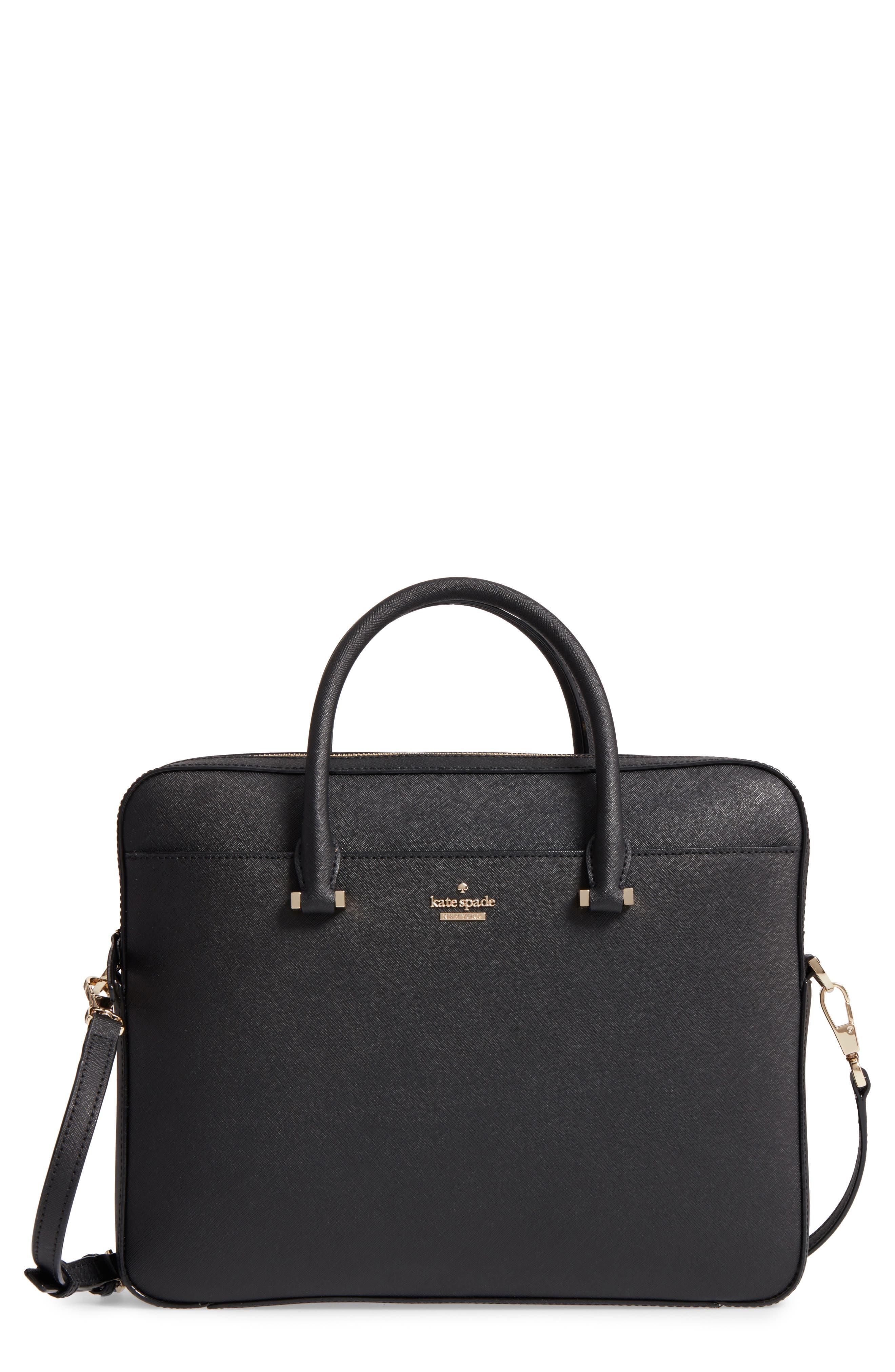 saffiano leather laptop bag,                         Main,                         color, BLACK