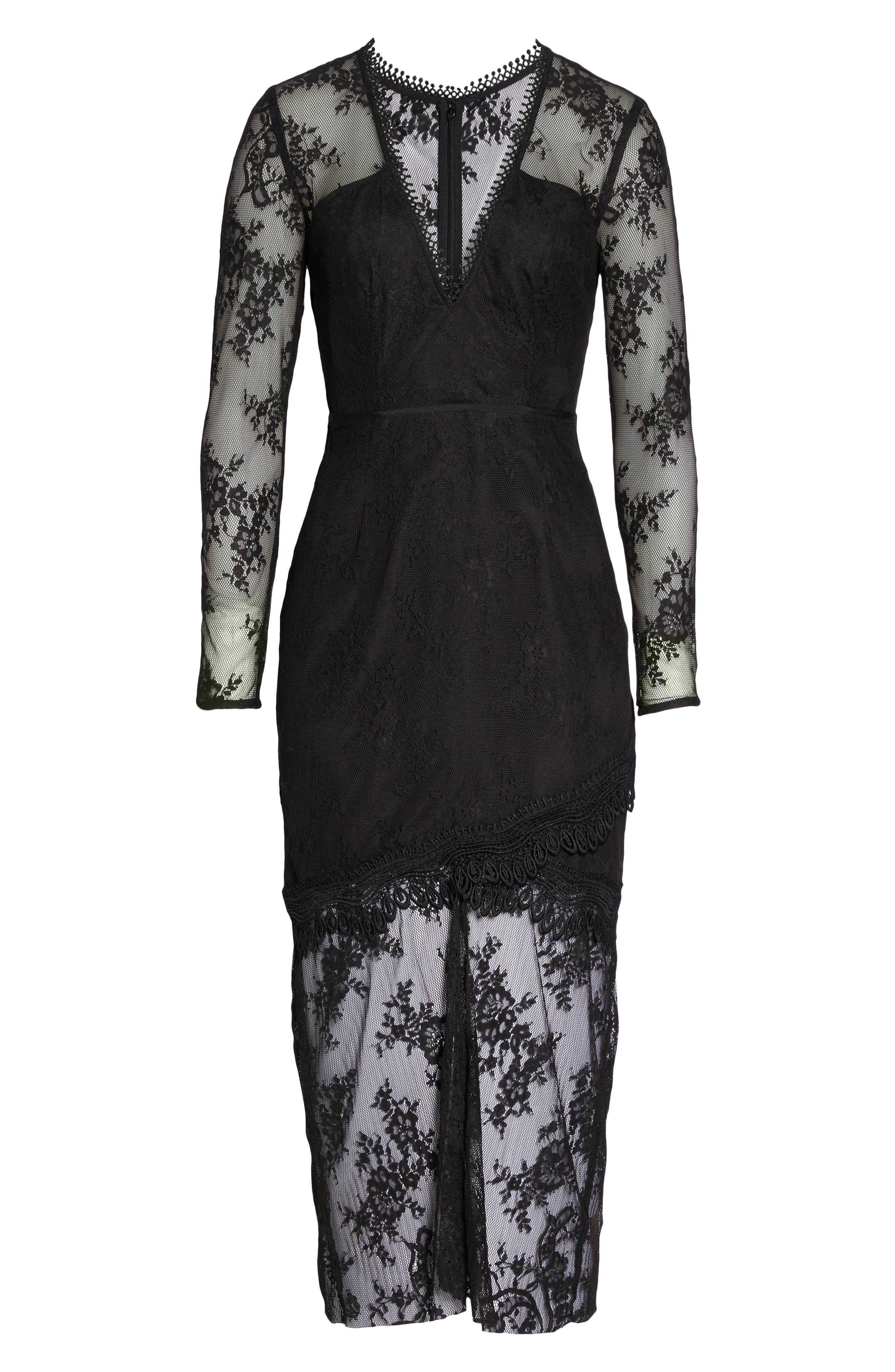 True Chemistry Lace Sheath Dress,                             Alternate thumbnail 6, color,                             001