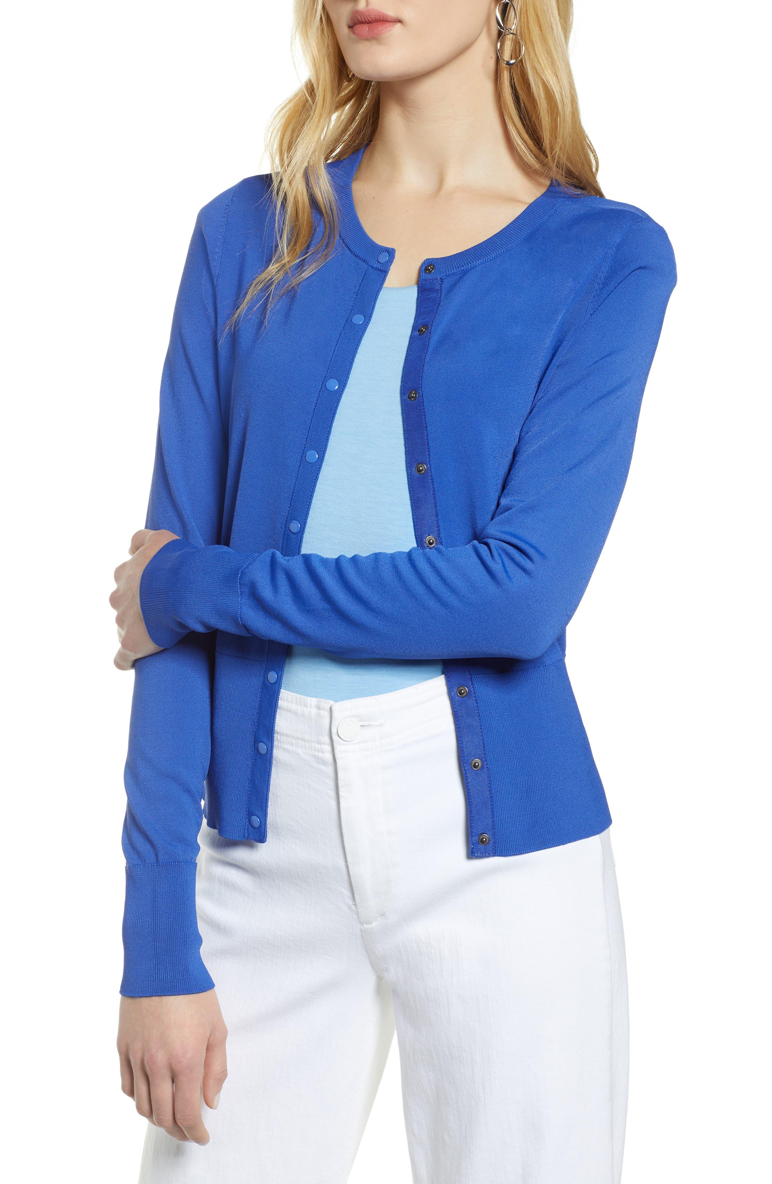 Petite Halogen Snap Front Cardigan, Blue