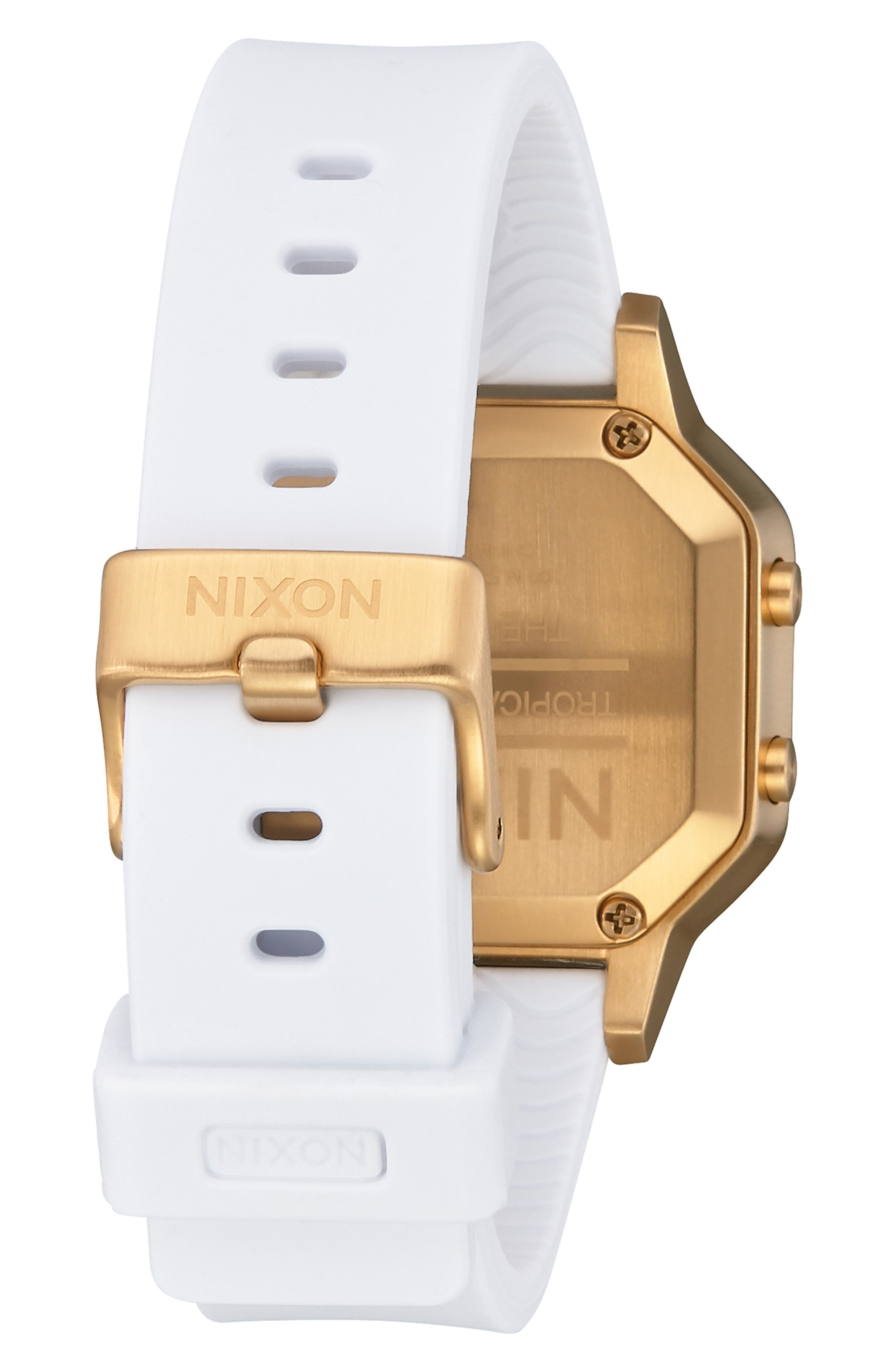 Siren Digital Watch, 36mm,                             Alternate thumbnail 2, color,                             WHITE/ BLACK/ GOLD