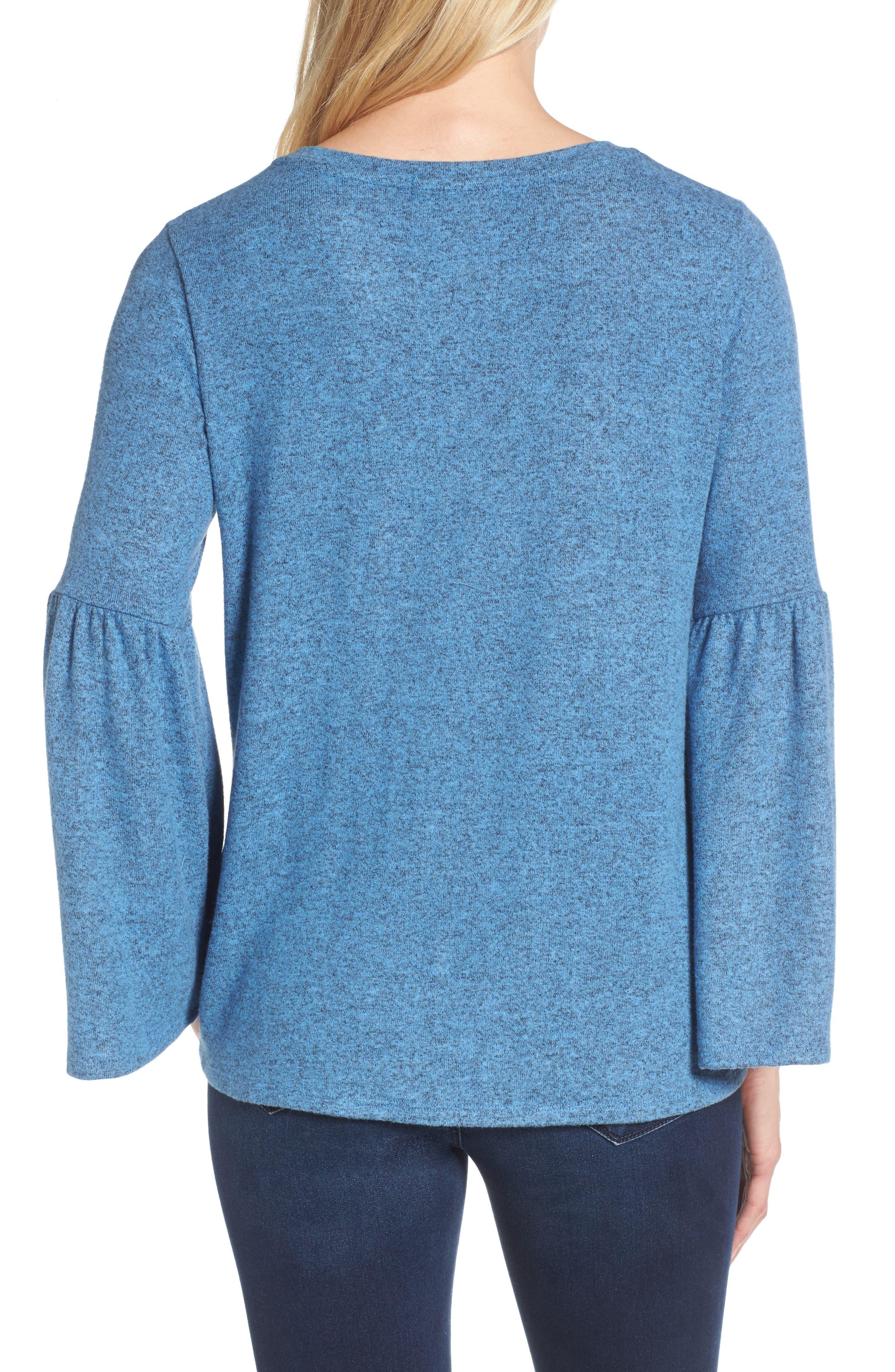 Bell Sleeve Cozy Fleece Pullover,                             Alternate thumbnail 15, color,