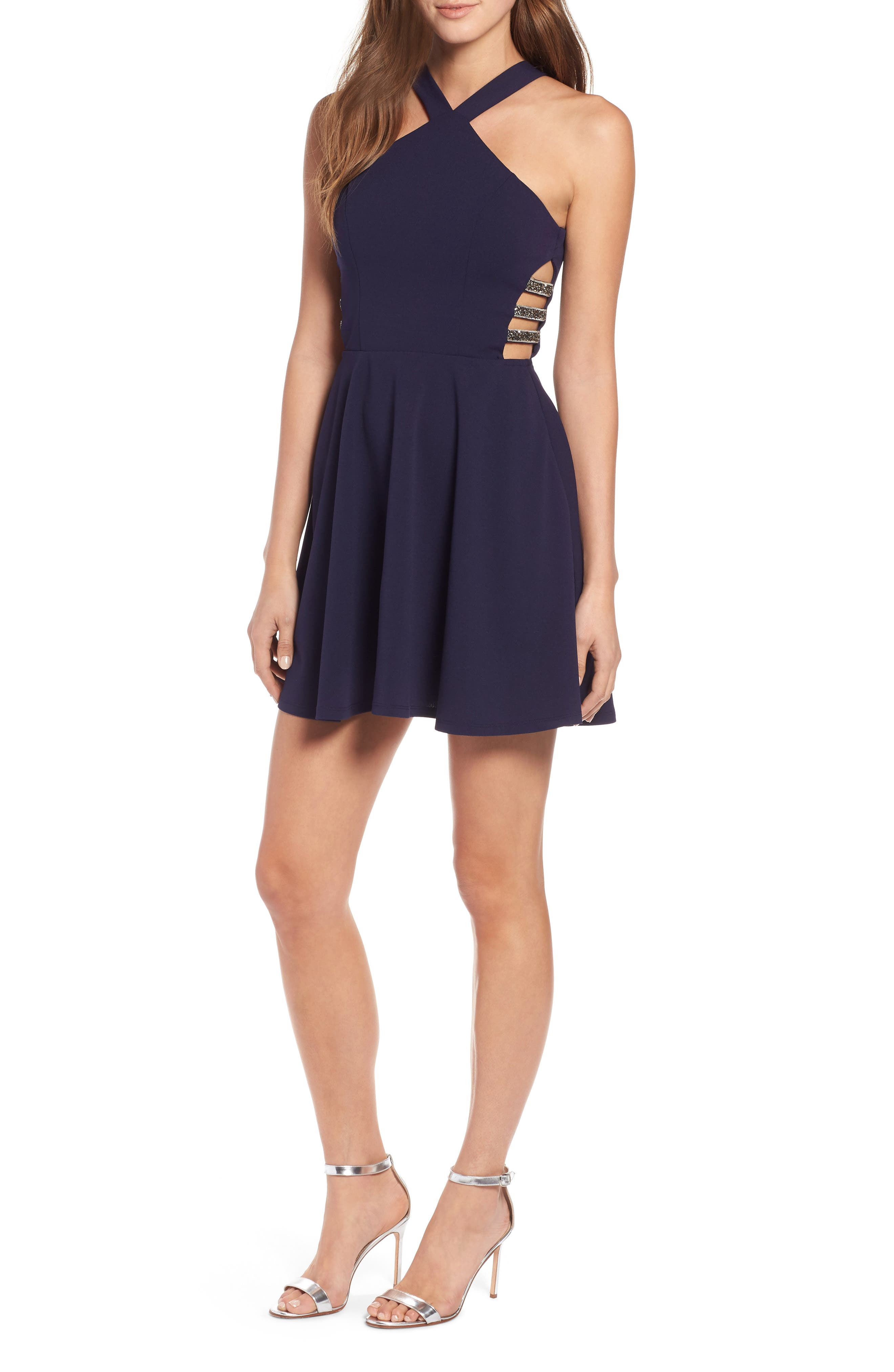SPEECHLESS,                             Side Cutout Fit & Flare Dress,                             Main thumbnail 1, color,                             MIDNIGHT