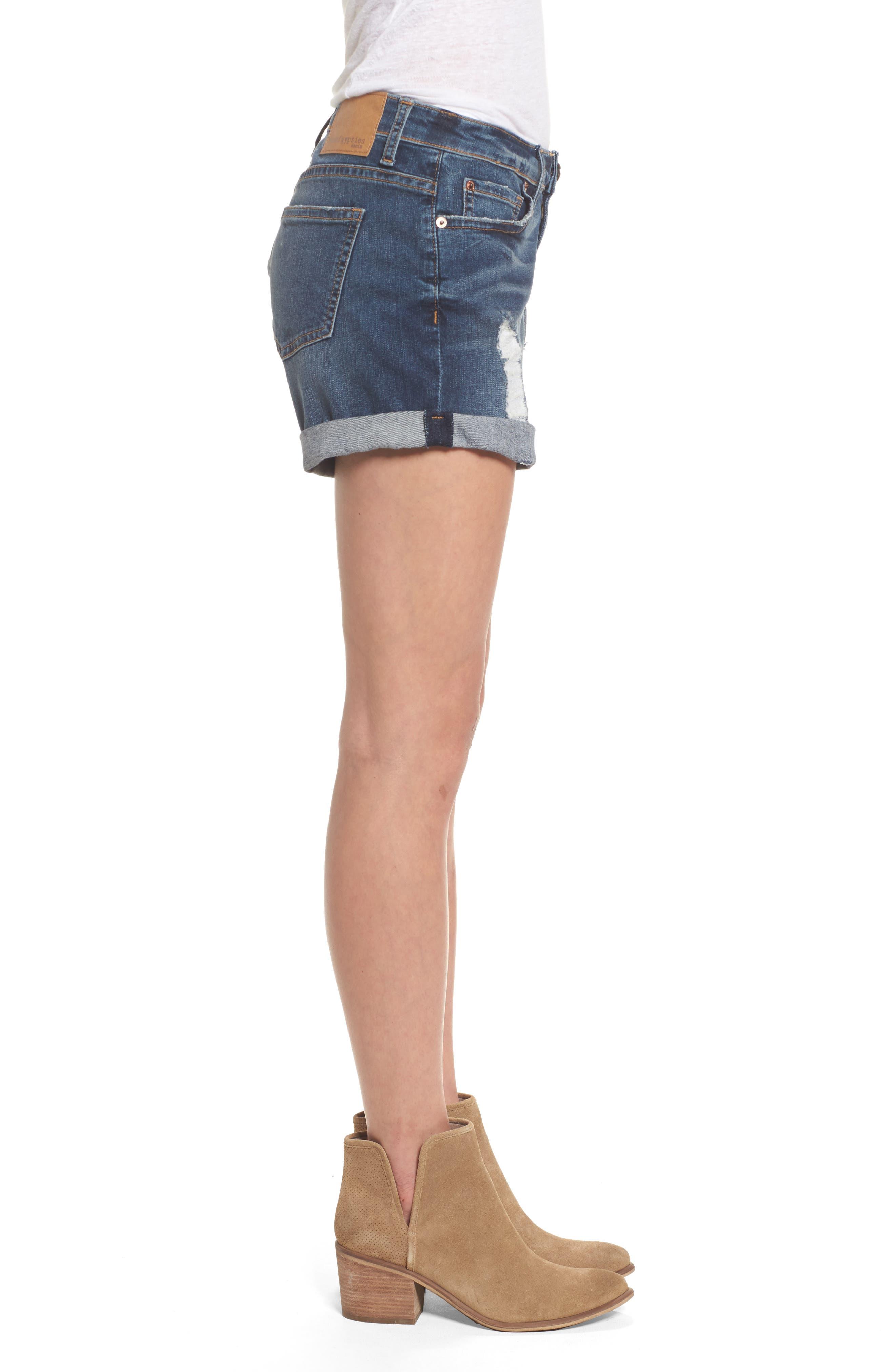 Allie Boyfriend Denim Shorts,                             Alternate thumbnail 3, color,                             400