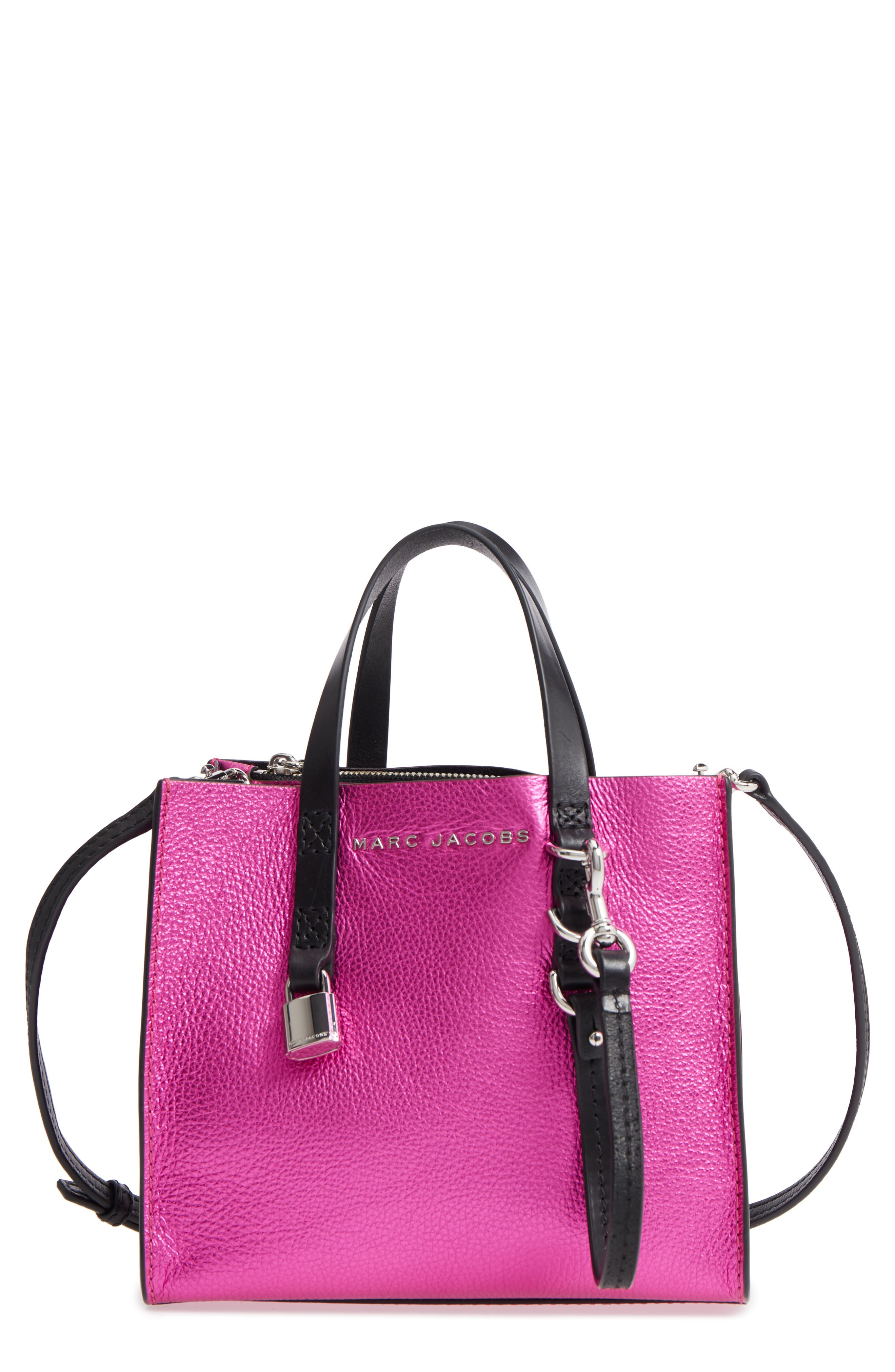 Mini The Grind Metallic Leather Tote,                             Main thumbnail 1, color,                             PUNCH PINK