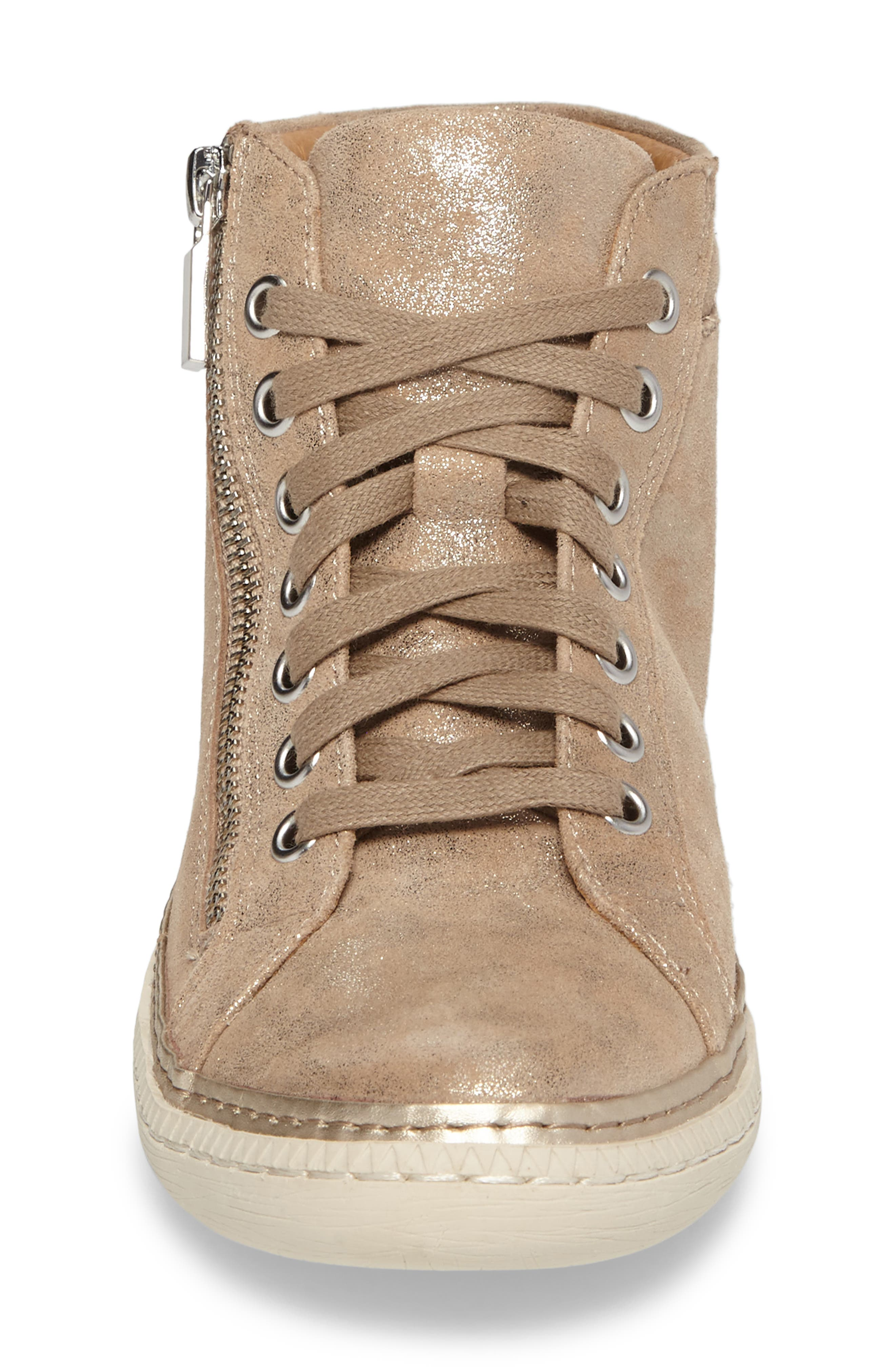 Annaleigh High Top Sneaker,                             Alternate thumbnail 4, color,                             ANTHRACITE FOIL SUEDE