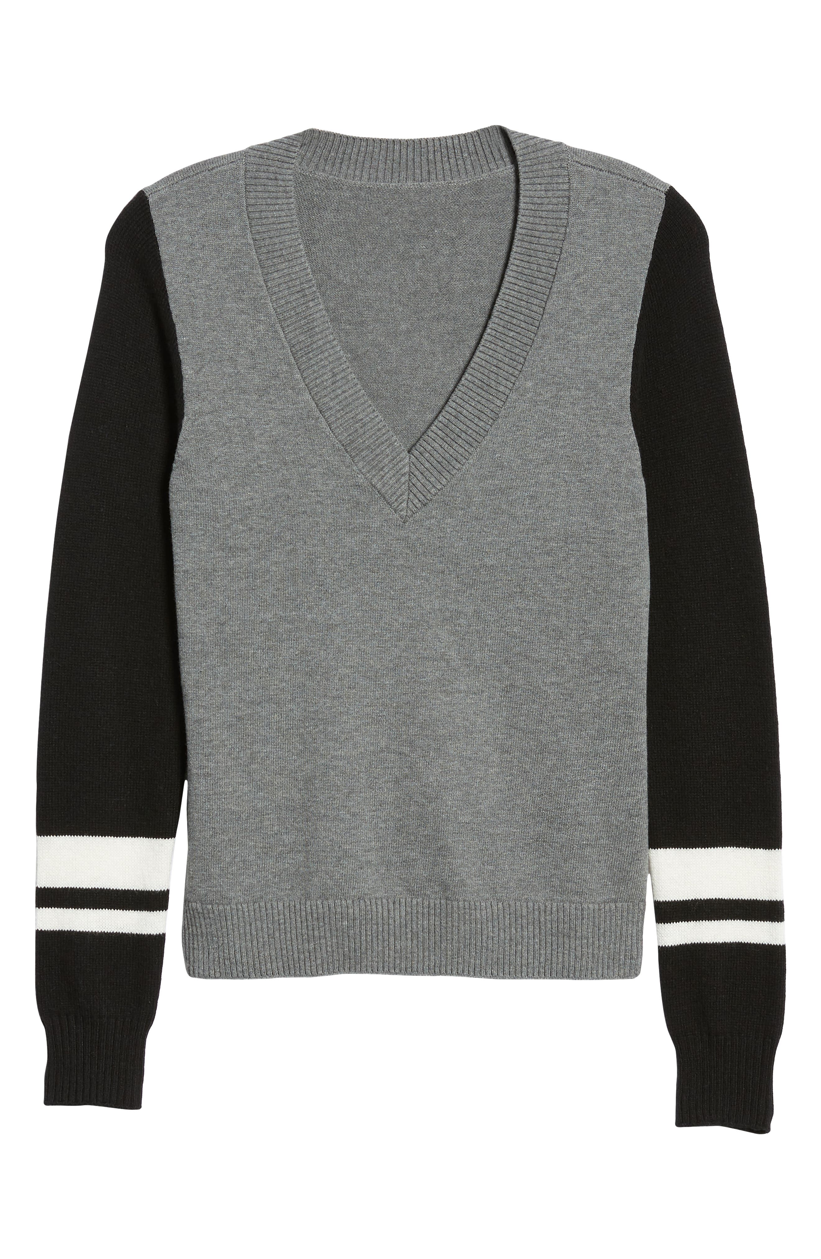 Stripe V-Neck Sweater,                             Alternate thumbnail 6, color,                             GREY HEATHER COMBO