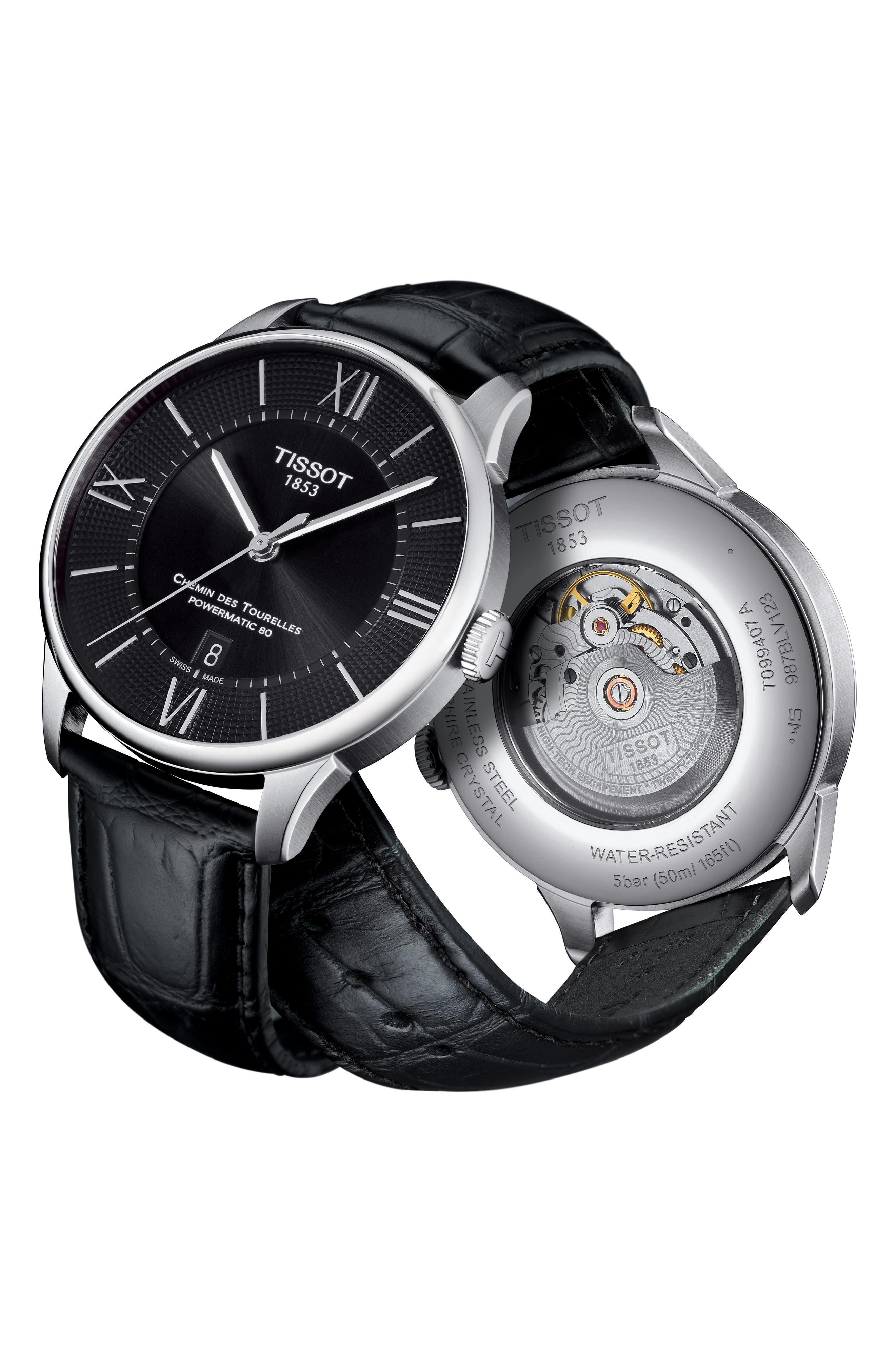 Chemin Des Tourelles Automatic Leather Strap Watch, 42mm,                             Alternate thumbnail 3, color,                             BLACK/ SILVER