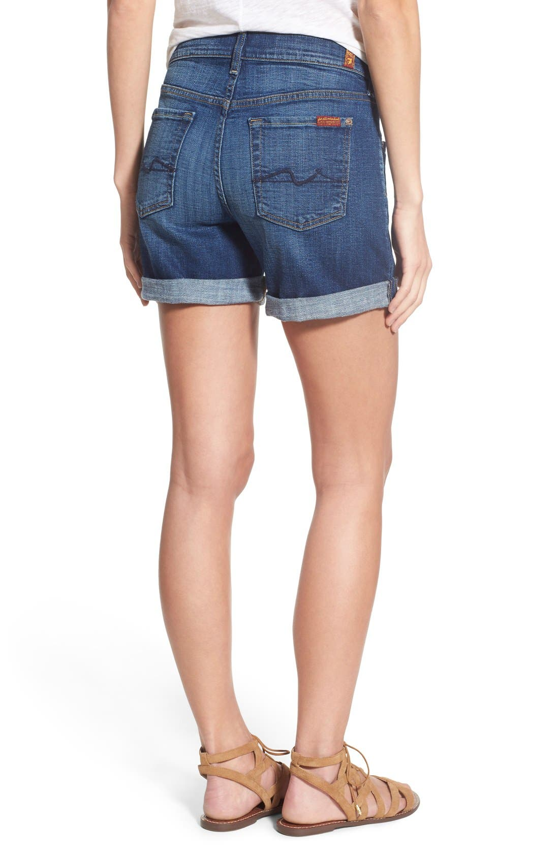 Relaxed High Rise Denim Shorts,                             Alternate thumbnail 2, color,                             400