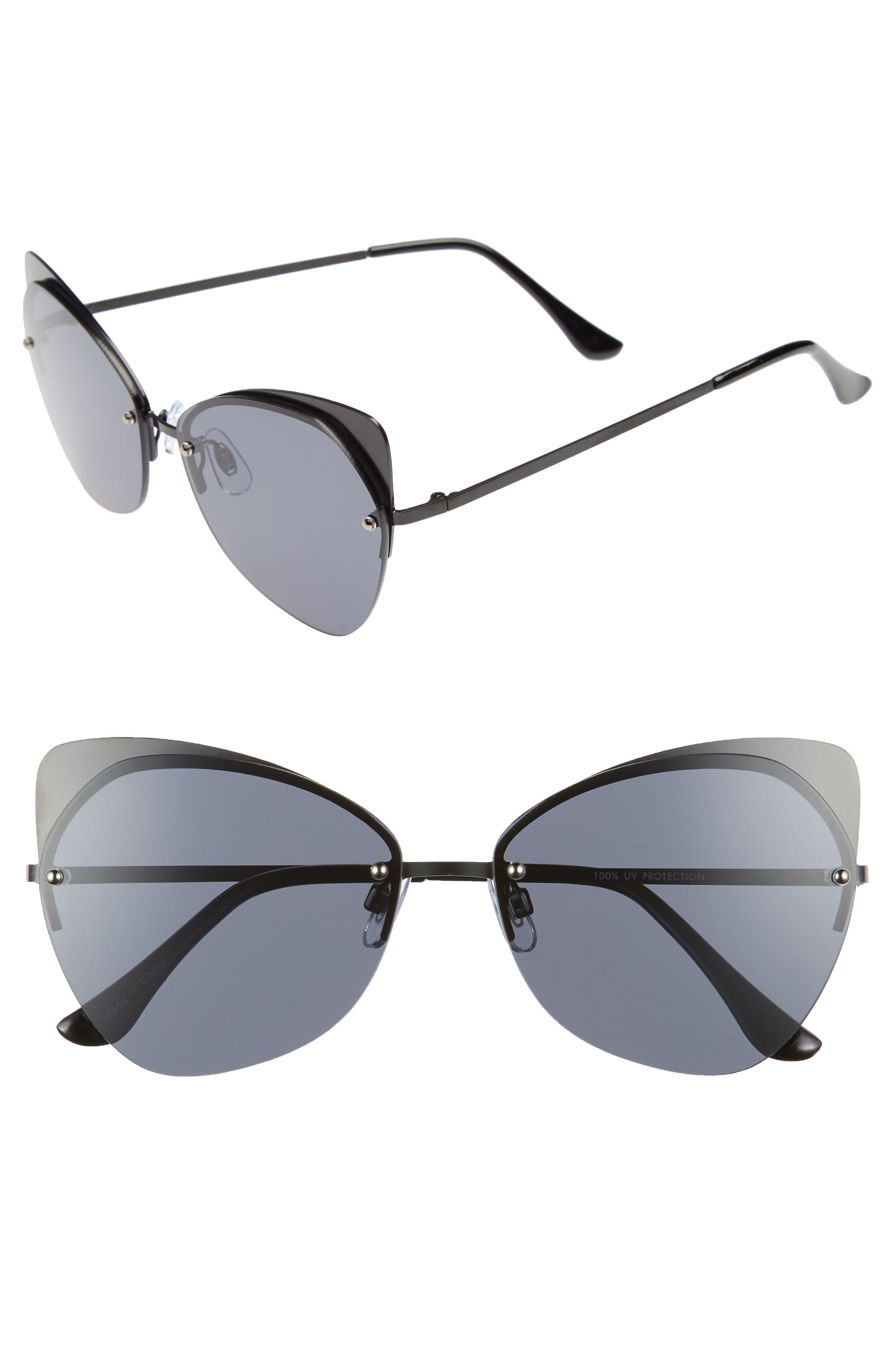 59mm Rimless Cat Eye Sunglasses,                         Main,                         color, 001