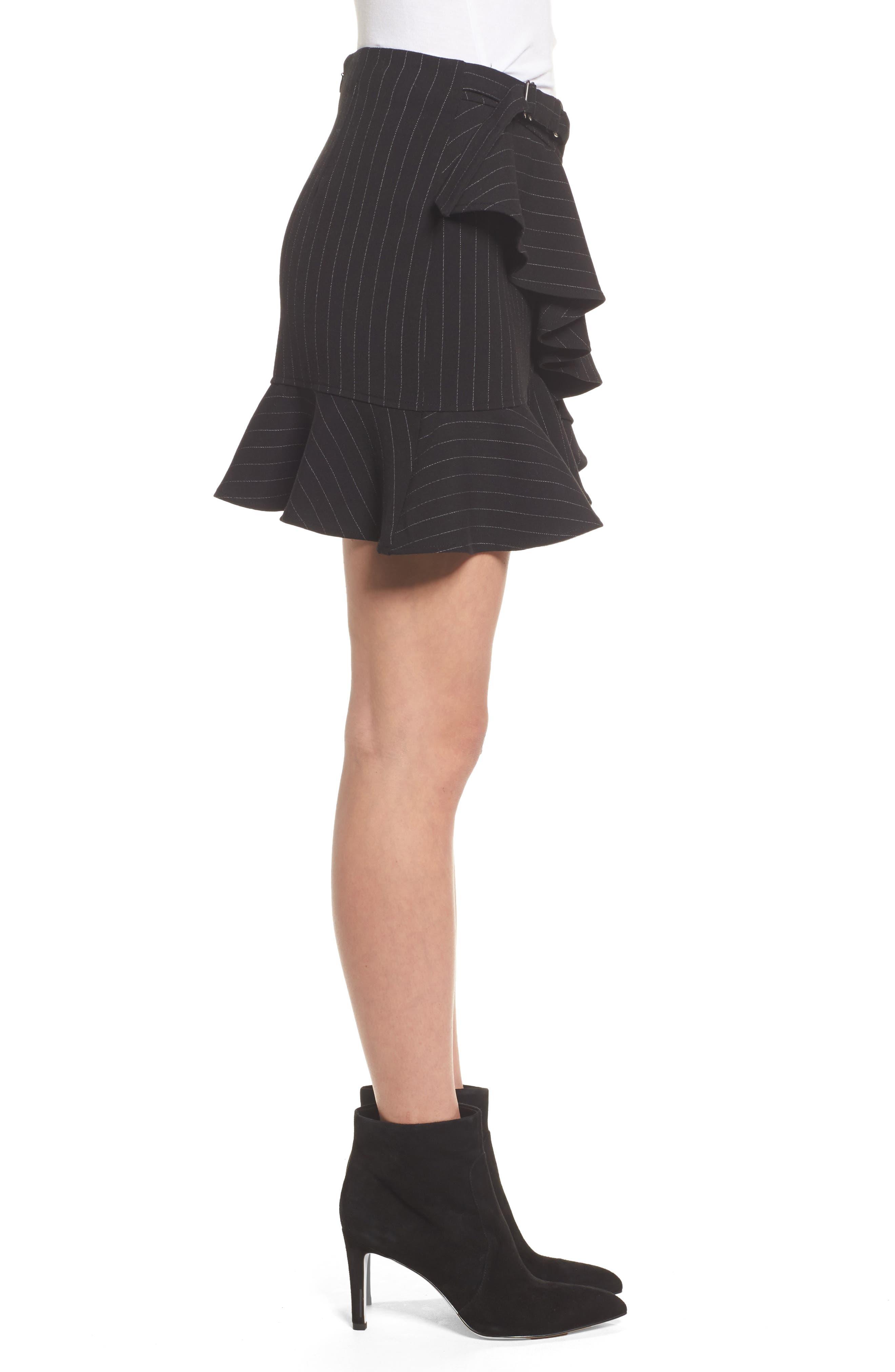 Dominic Asymmetrical Ruffle Skirt,                             Alternate thumbnail 3, color,                             001