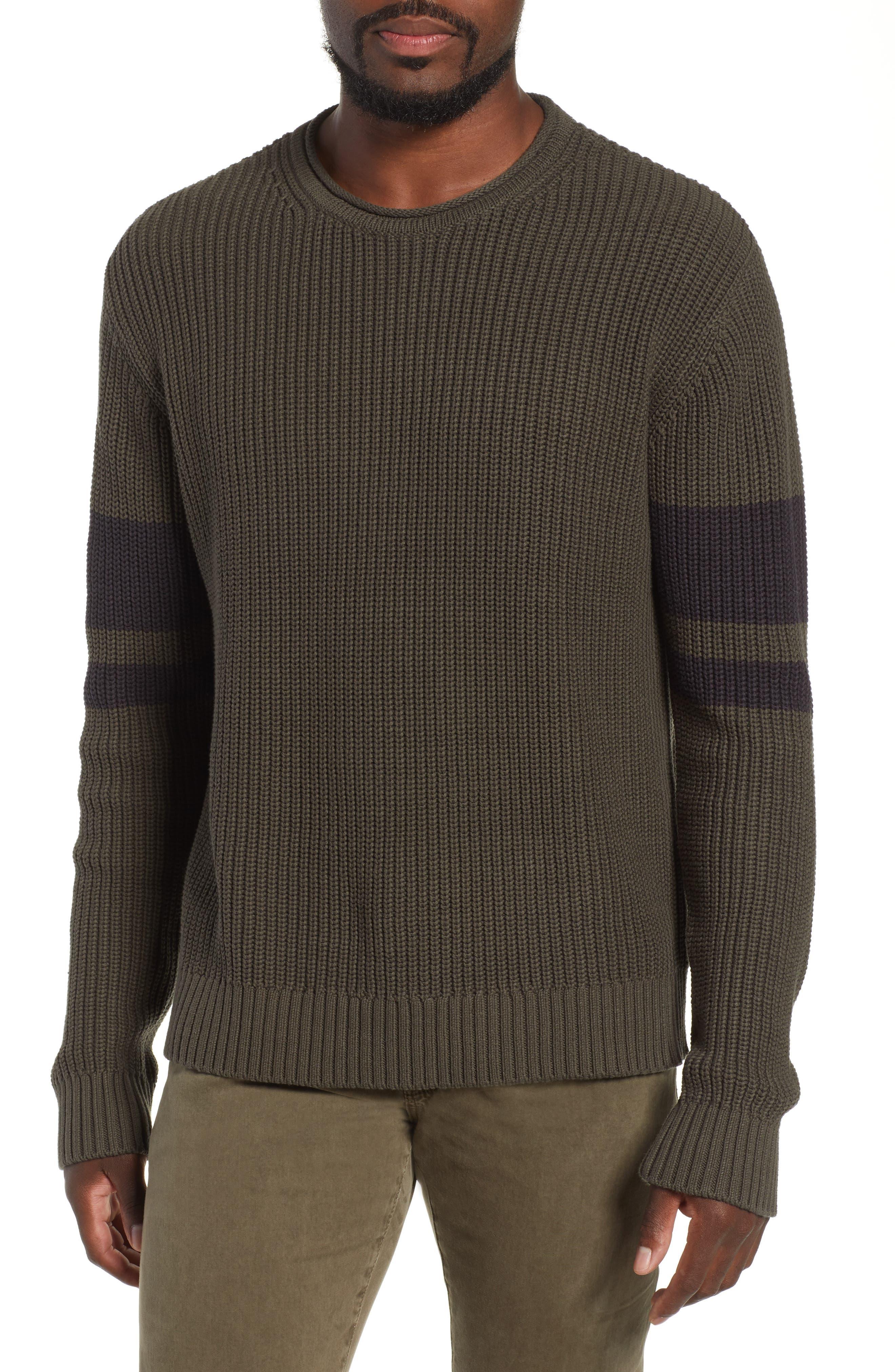 Jett Slim Fit Crewneck Sweater,                             Main thumbnail 1, color,                             OAK GROVE/ BLACK