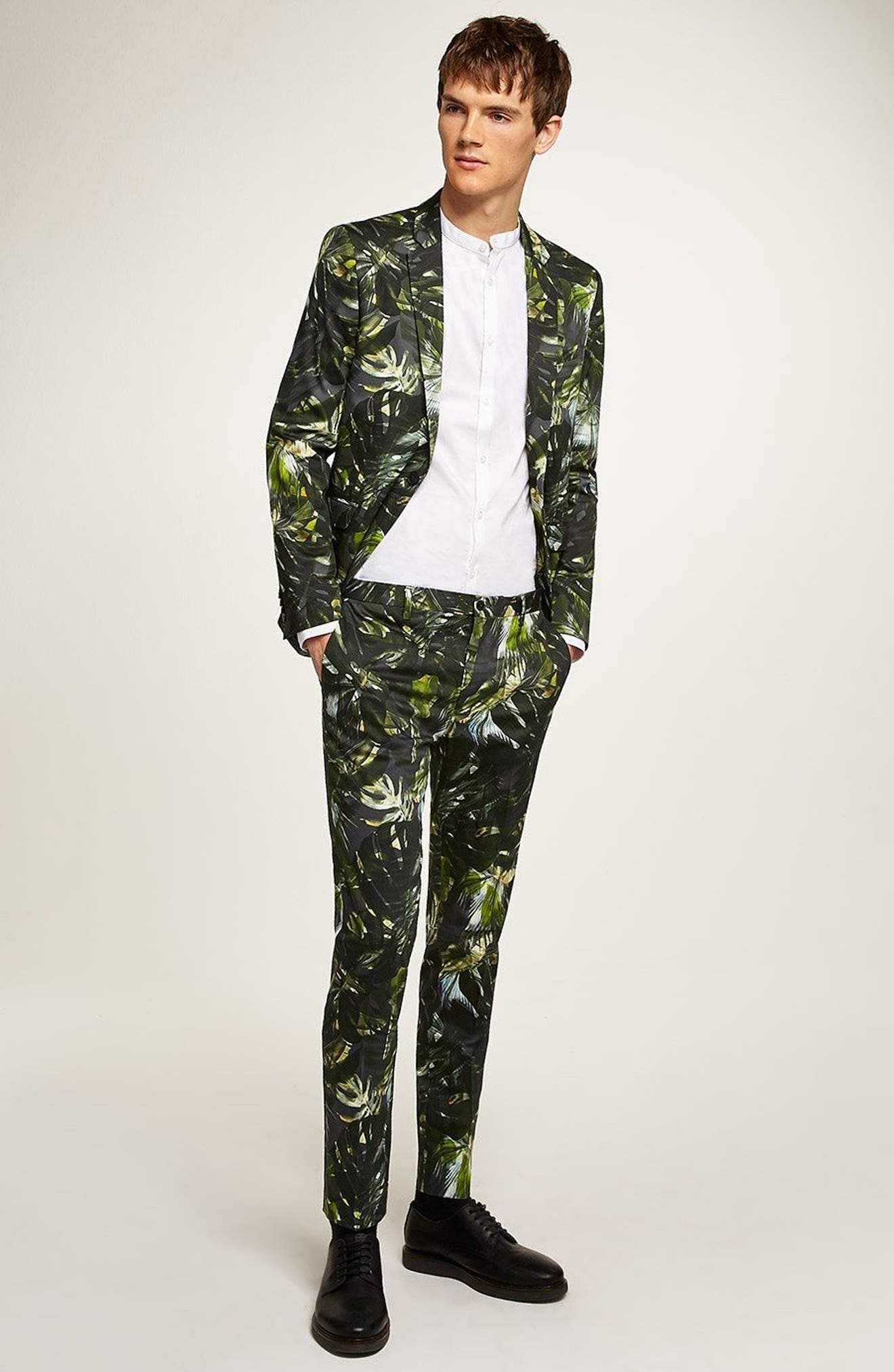 Ultra Skinny Fit Palm Print Suit Jacket,                             Alternate thumbnail 4, color,                             GREEN