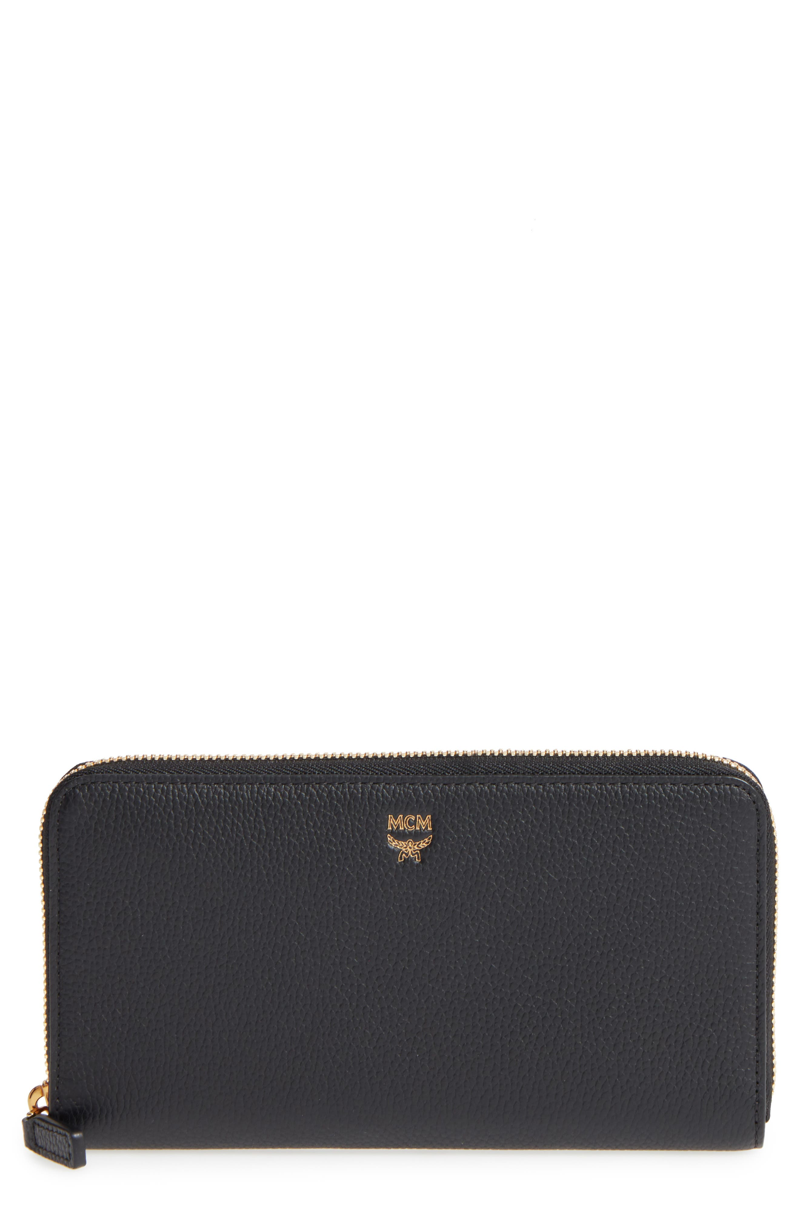 Milla Leather Zip Around Wallet,                             Main thumbnail 1, color,                             001