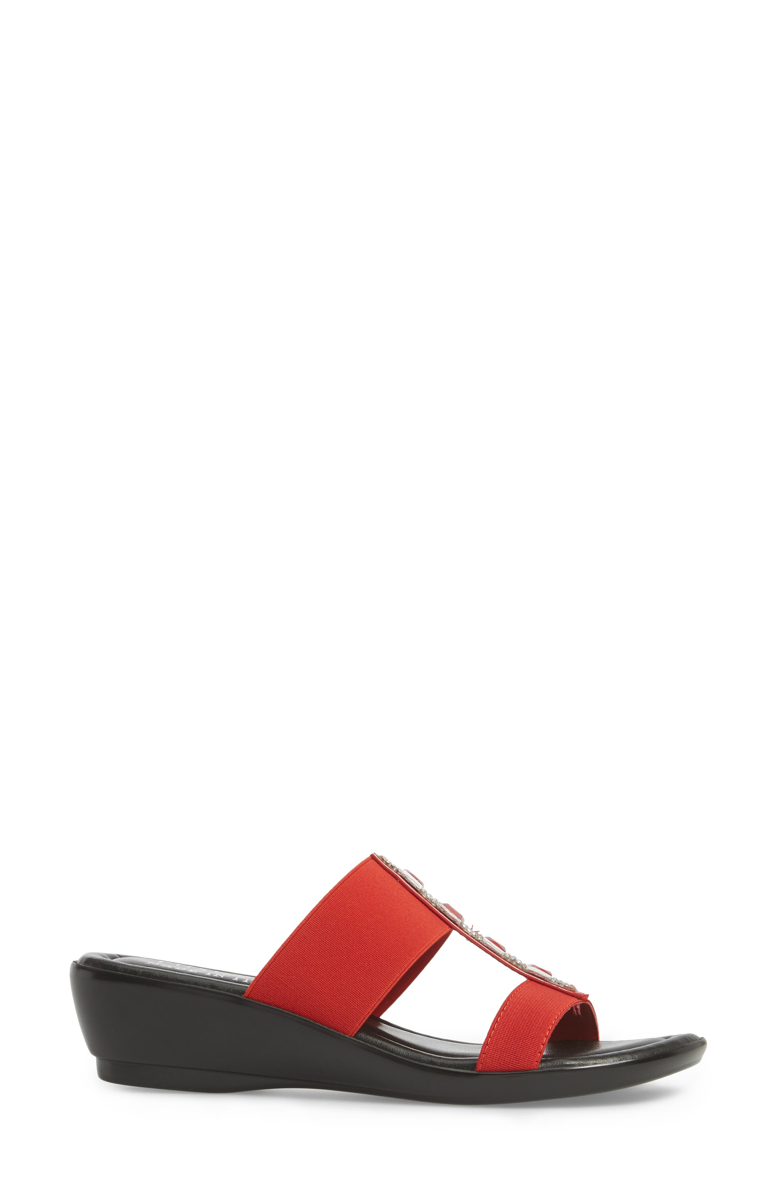 by Easy Street<sup>®</sup> Elba Embellished Slide Sandal,                             Alternate thumbnail 3, color,                             RED STRETCH FAUX LEATHER