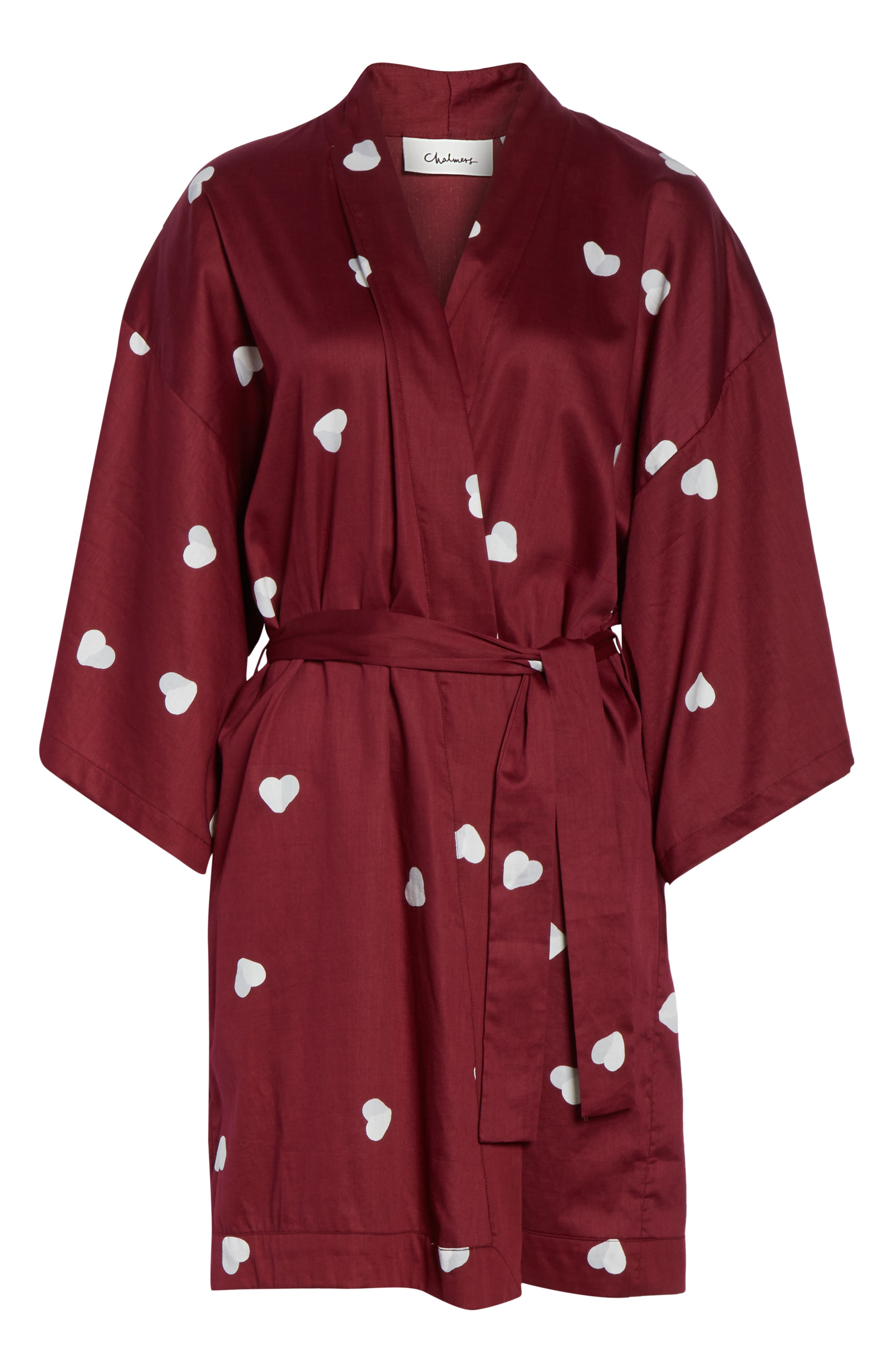 Margaux Short Cotton Robe,                             Alternate thumbnail 6, color,                             LONELY HEARTS MAROON