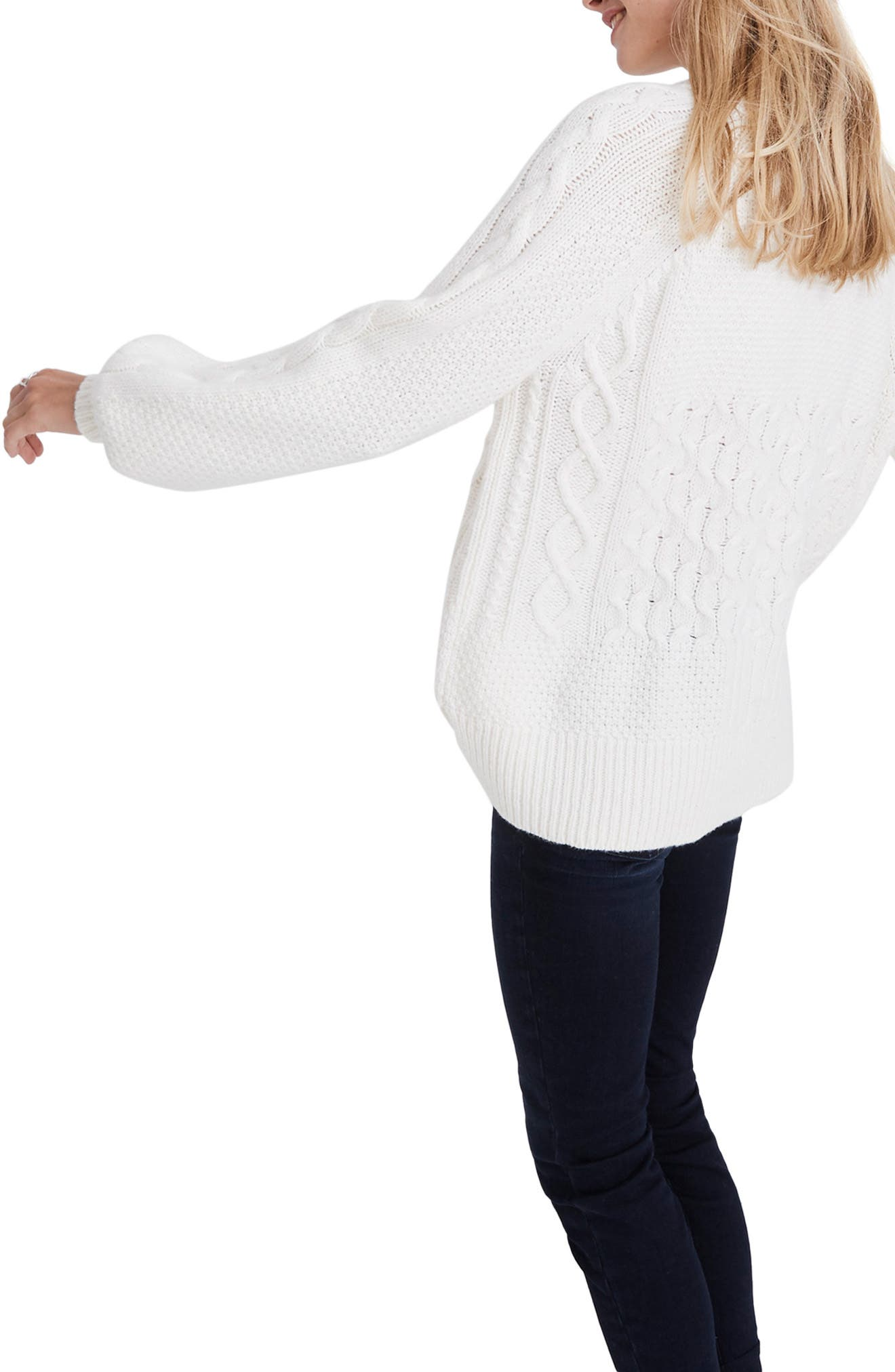 Copenhagen Cable Sweater,                             Alternate thumbnail 3, color,                             ANTIQUE CREAM