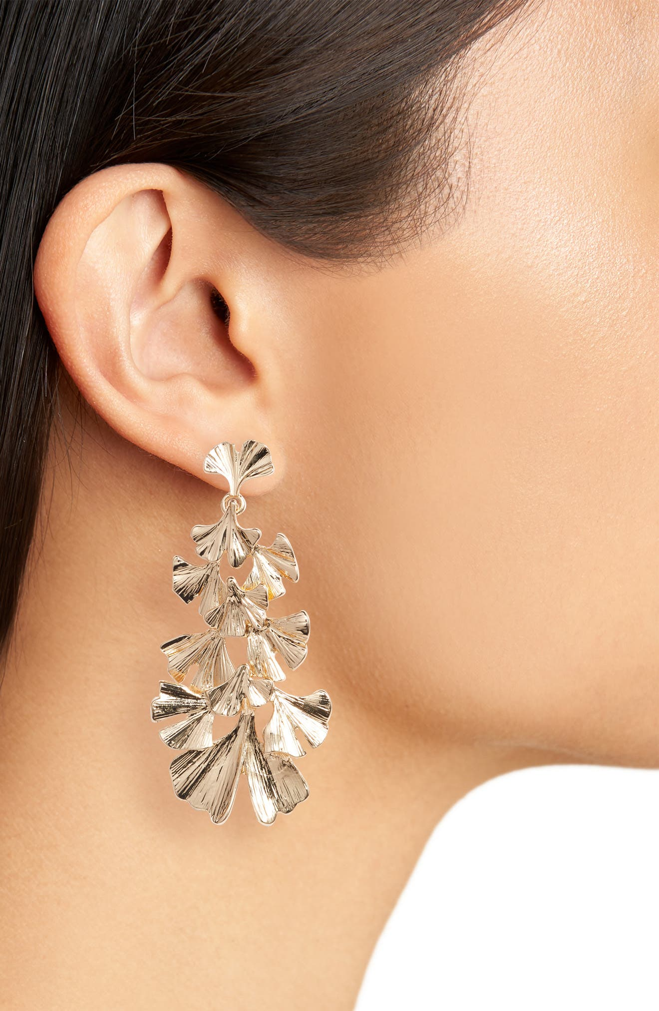 Layered Leaf Earrings,                             Alternate thumbnail 2, color,                             GOLD