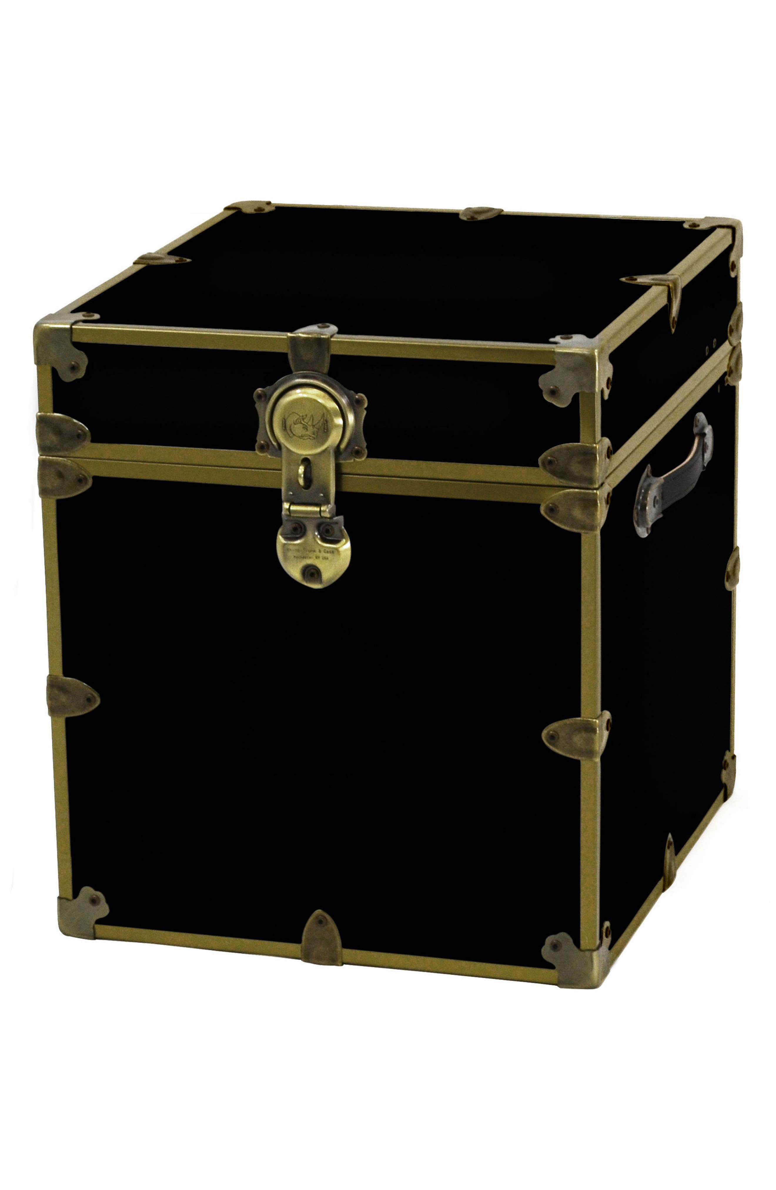 Rhino Trunk & Case Brass Armor Cube Trunk,                             Main thumbnail 1, color,                             BLACK