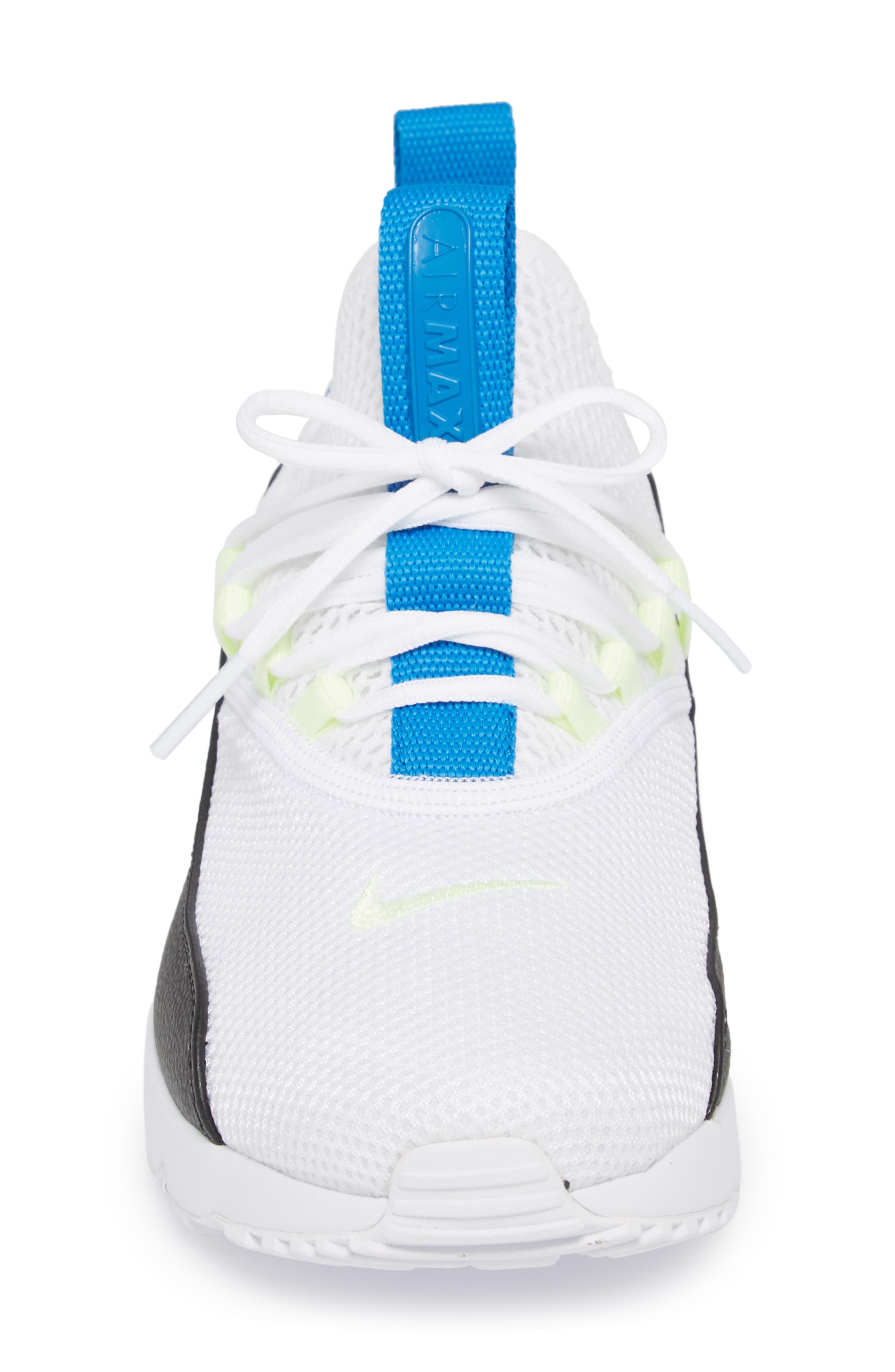 Air Max 90 EZ Sneaker,                             Alternate thumbnail 4, color,                             WHITE/ BLACK/ BLUE NEBULA
