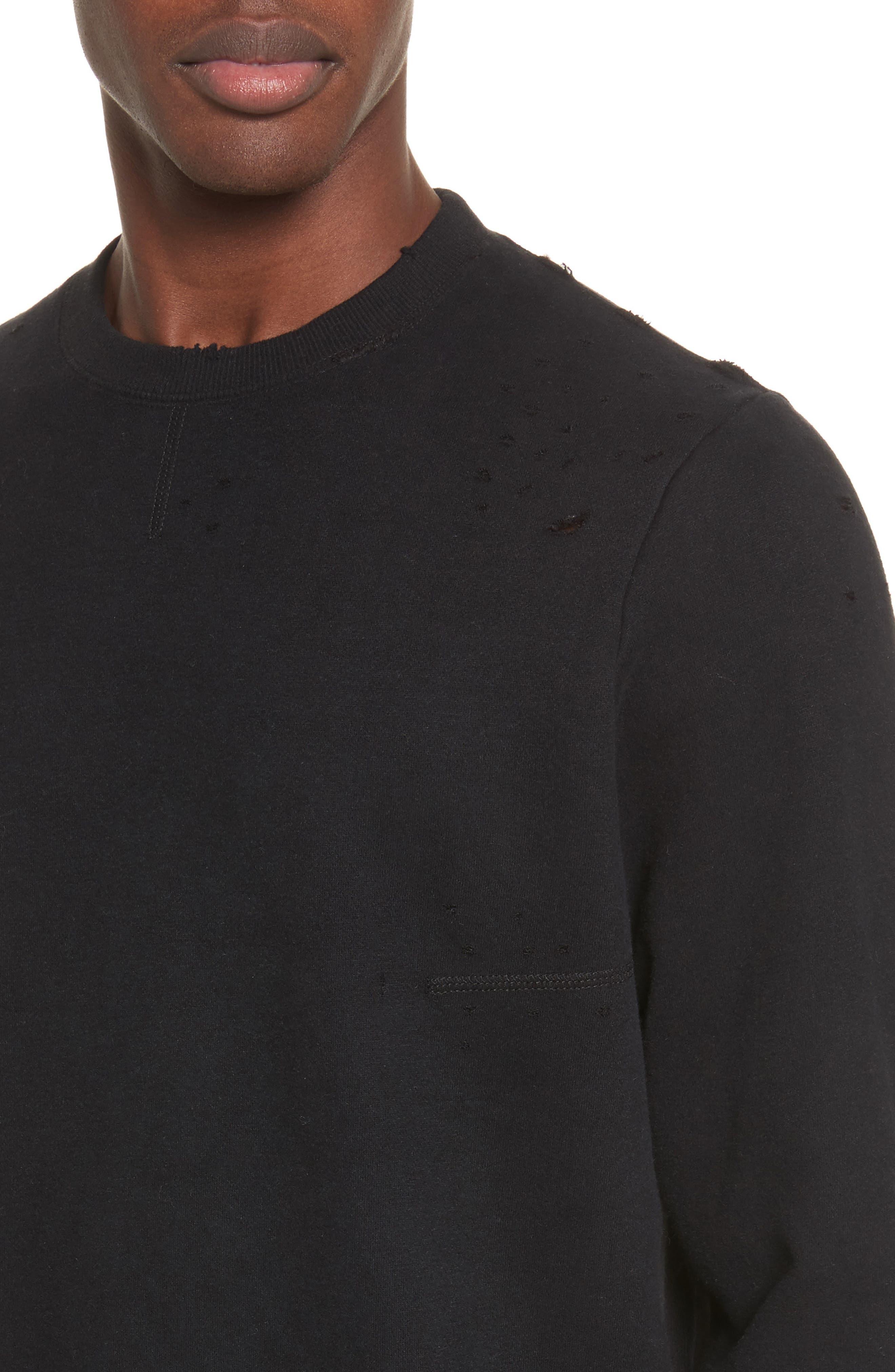 Distressed Crewneck Sweatshirt,                             Alternate thumbnail 4, color,