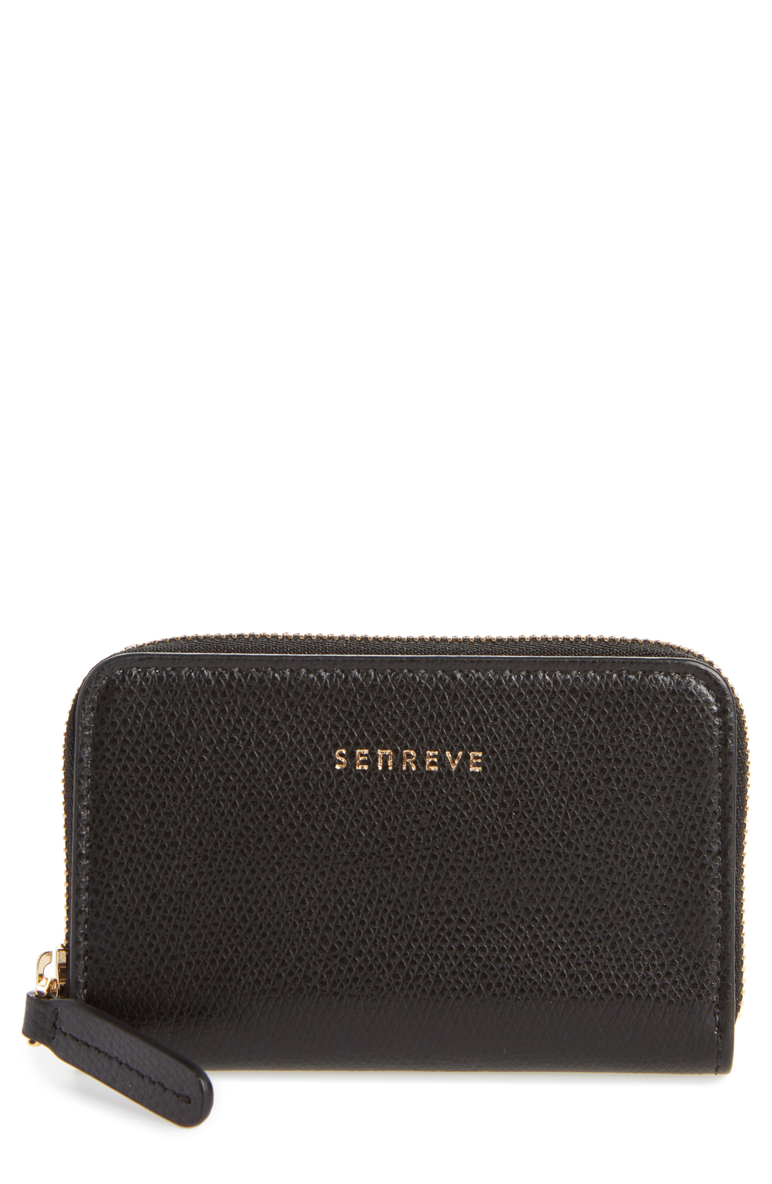 Pebbled Leather Card Wallet,                         Main,                         color, 001