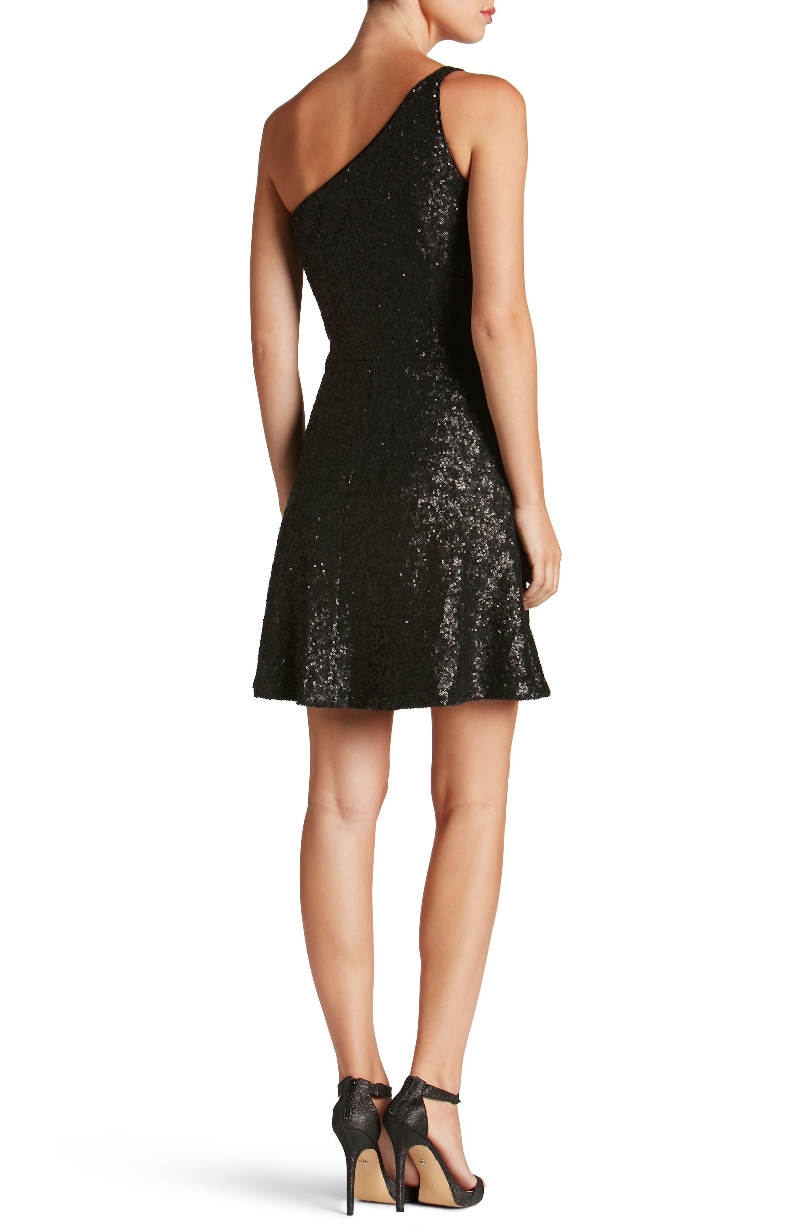 Tina One-Shoulder Sequin Fit & Flare Dress,                             Alternate thumbnail 2, color,                             018