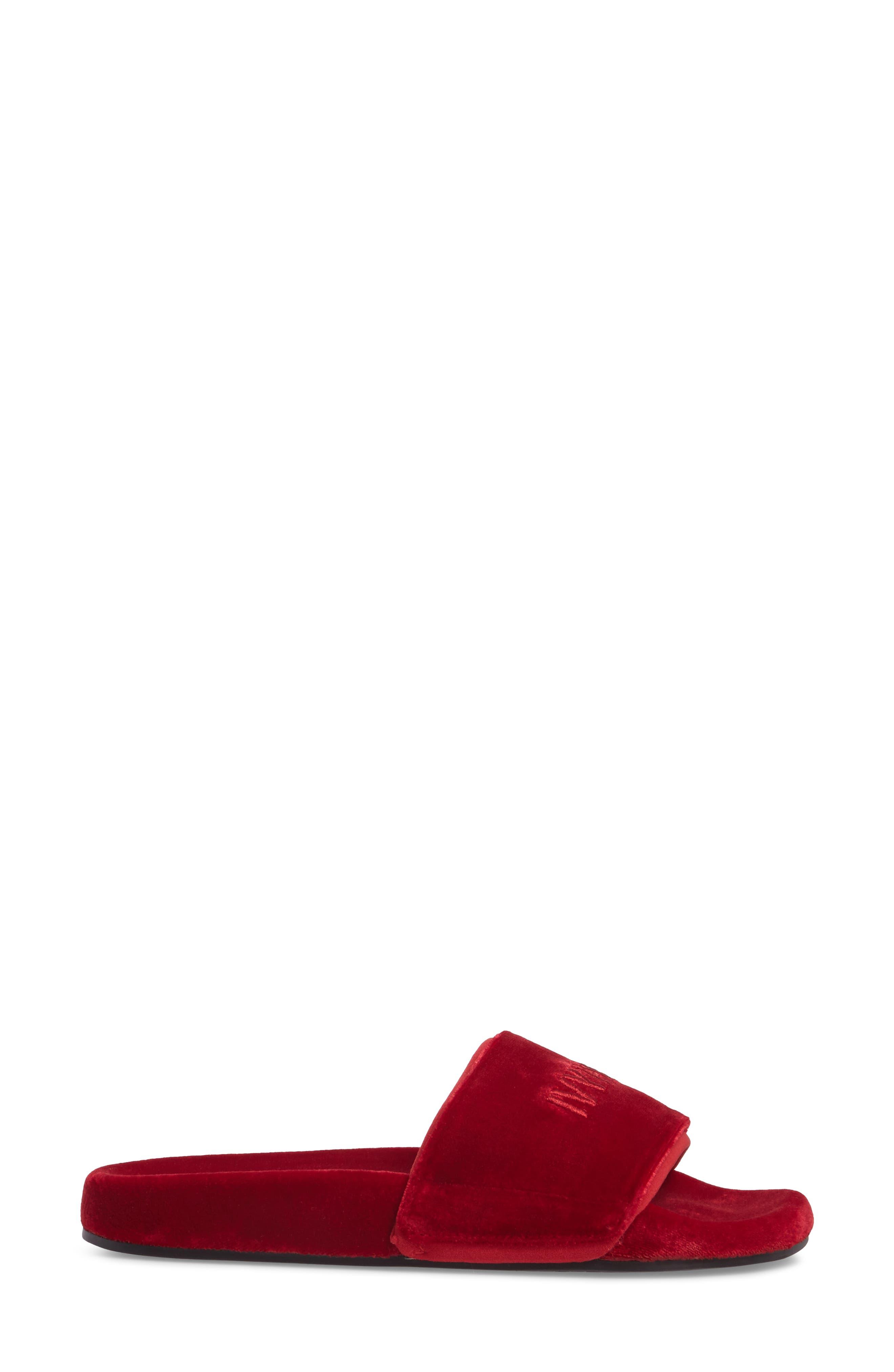 Velvet Embossed Slide Sandal,                             Alternate thumbnail 3, color,                             600