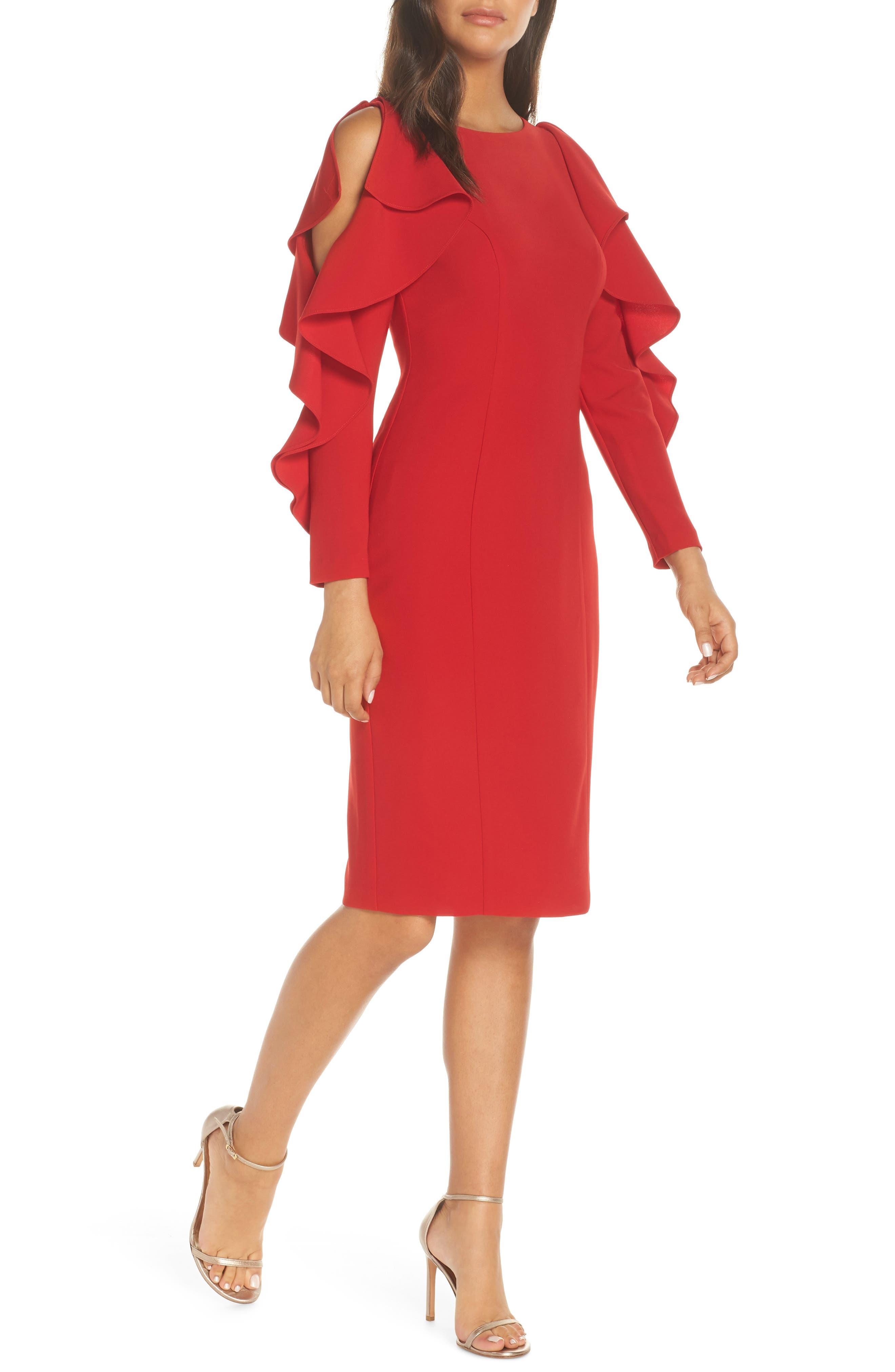 Eliza J Ruffle Sleeve Sheath Dress, Red