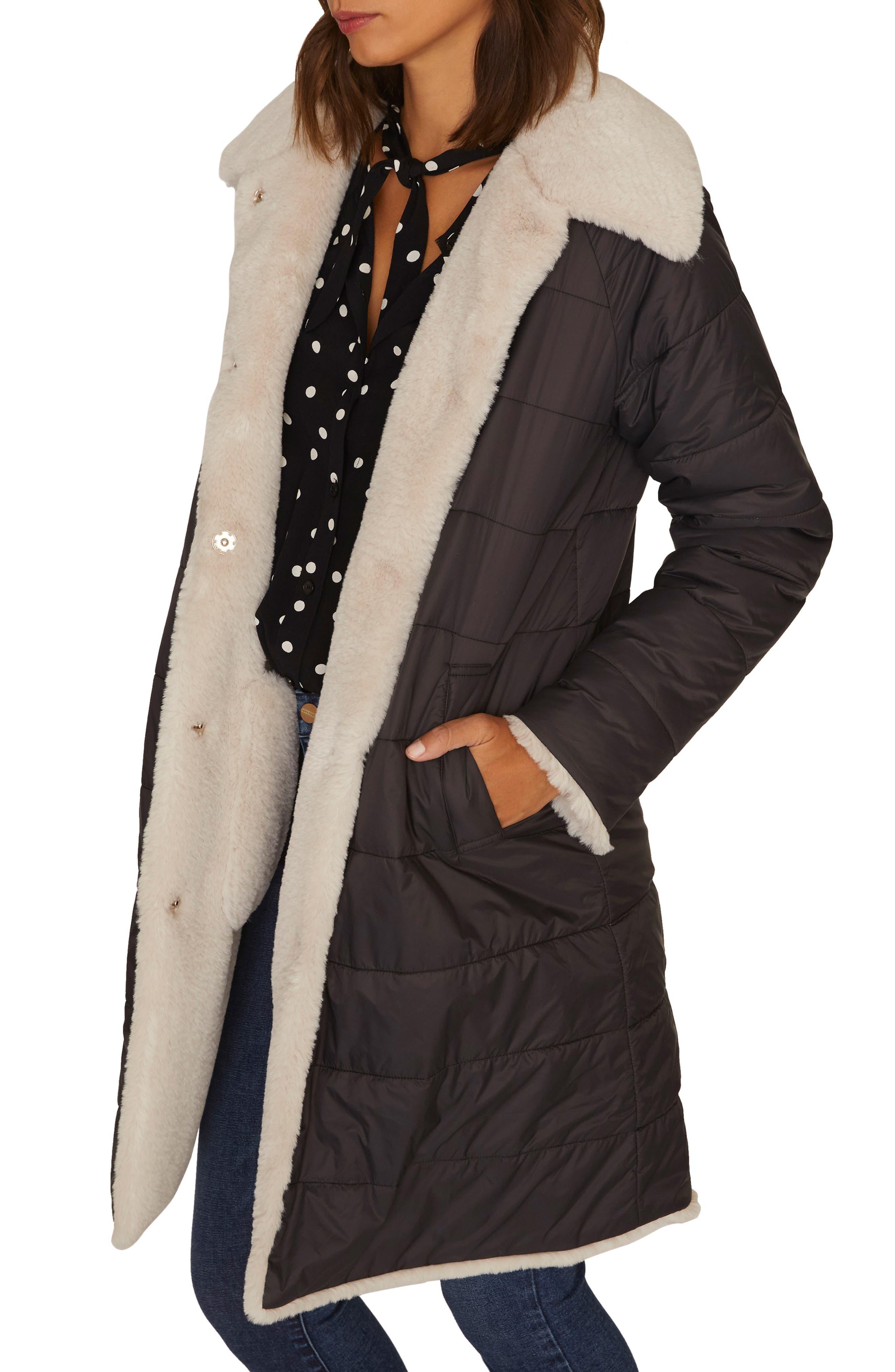 2 Be Real Reversible Puffa Faux Shearling Coat,                             Alternate thumbnail 3, color,                             001