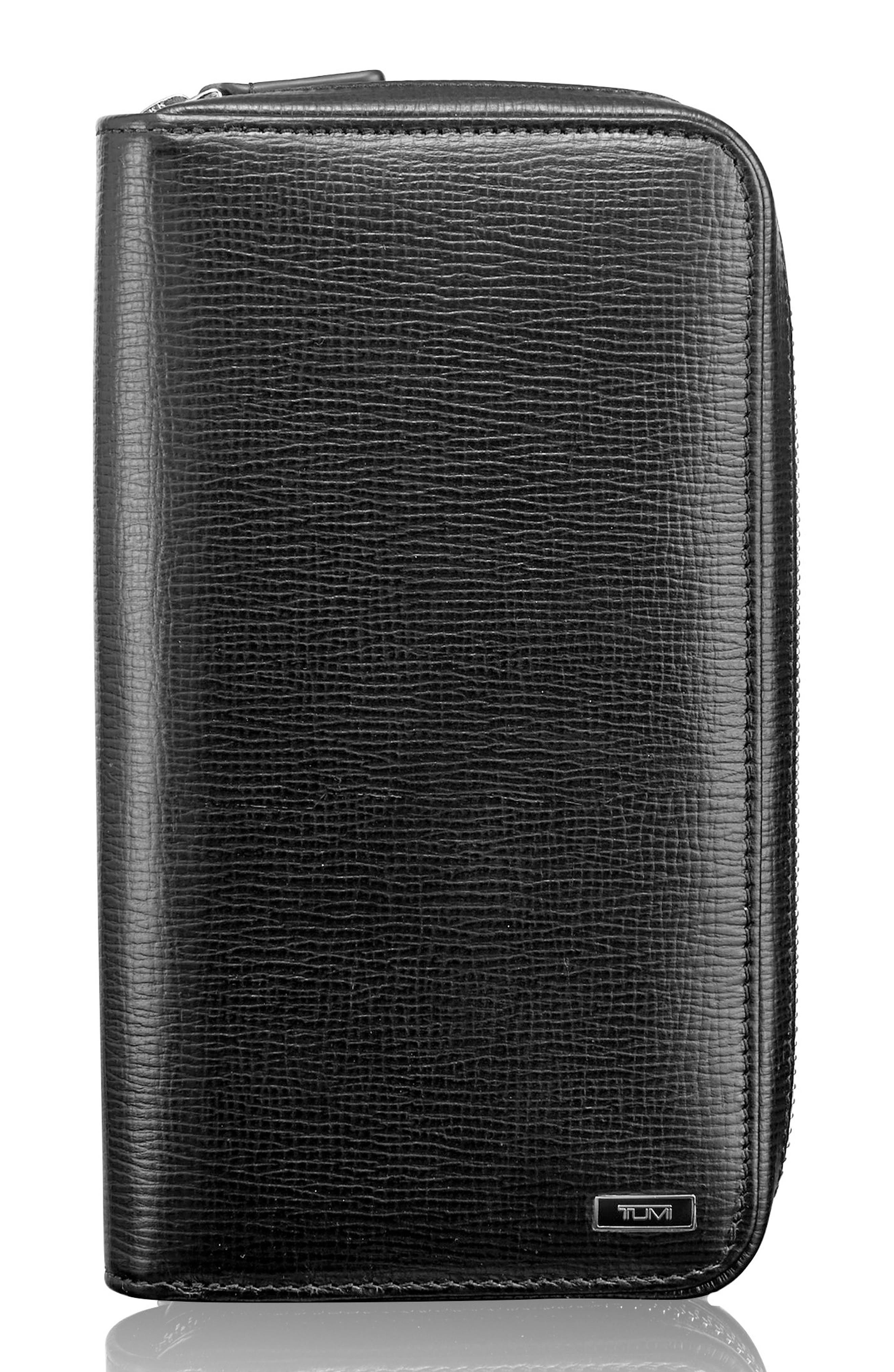 Zip-Around Leather Travel Wallet,                             Main thumbnail 1, color,                             BLACK TEXTURED