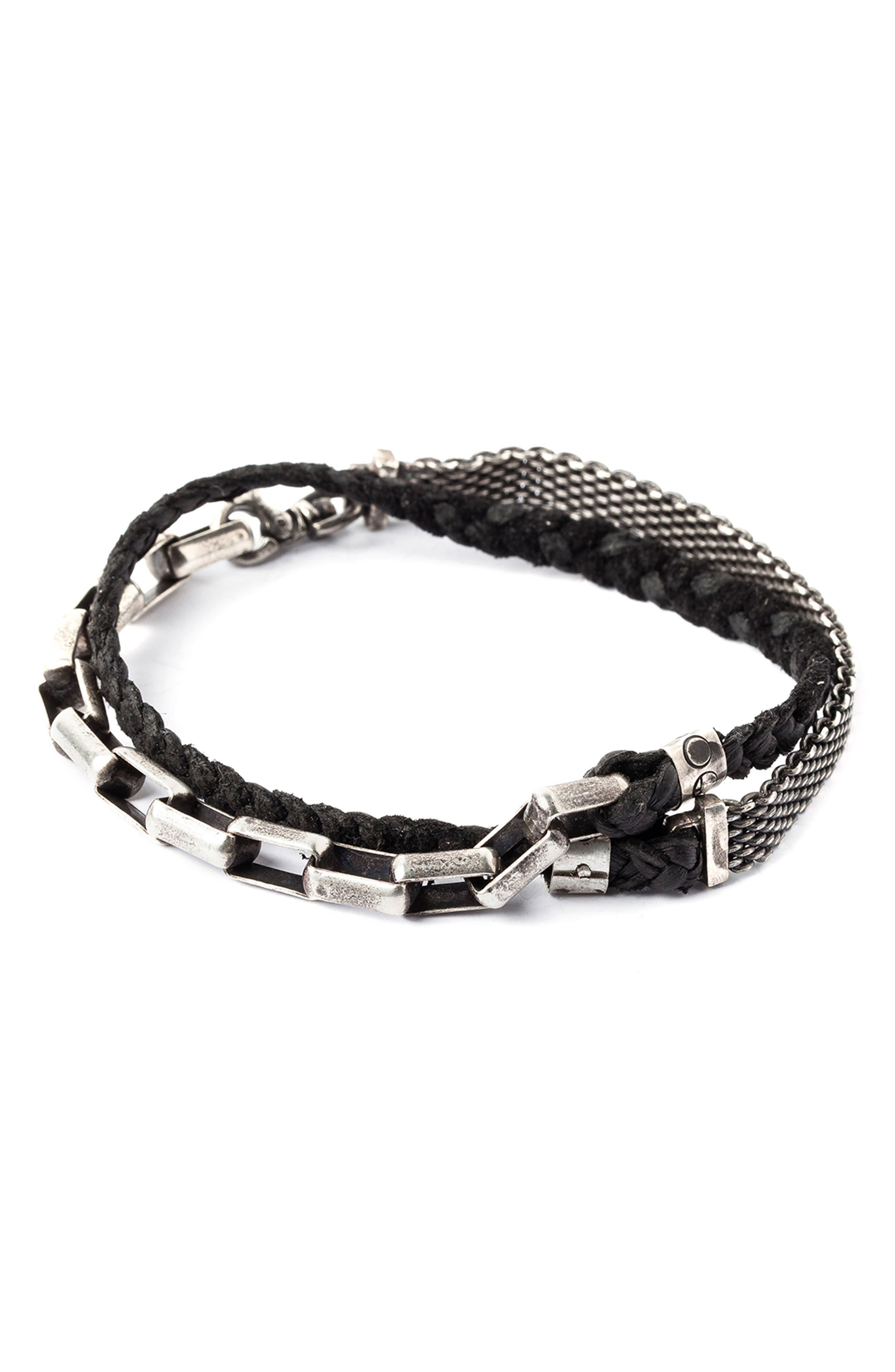 TITLE OF WORK Leather & Sterling Silver Wrap Bracelet in Silver/ Black