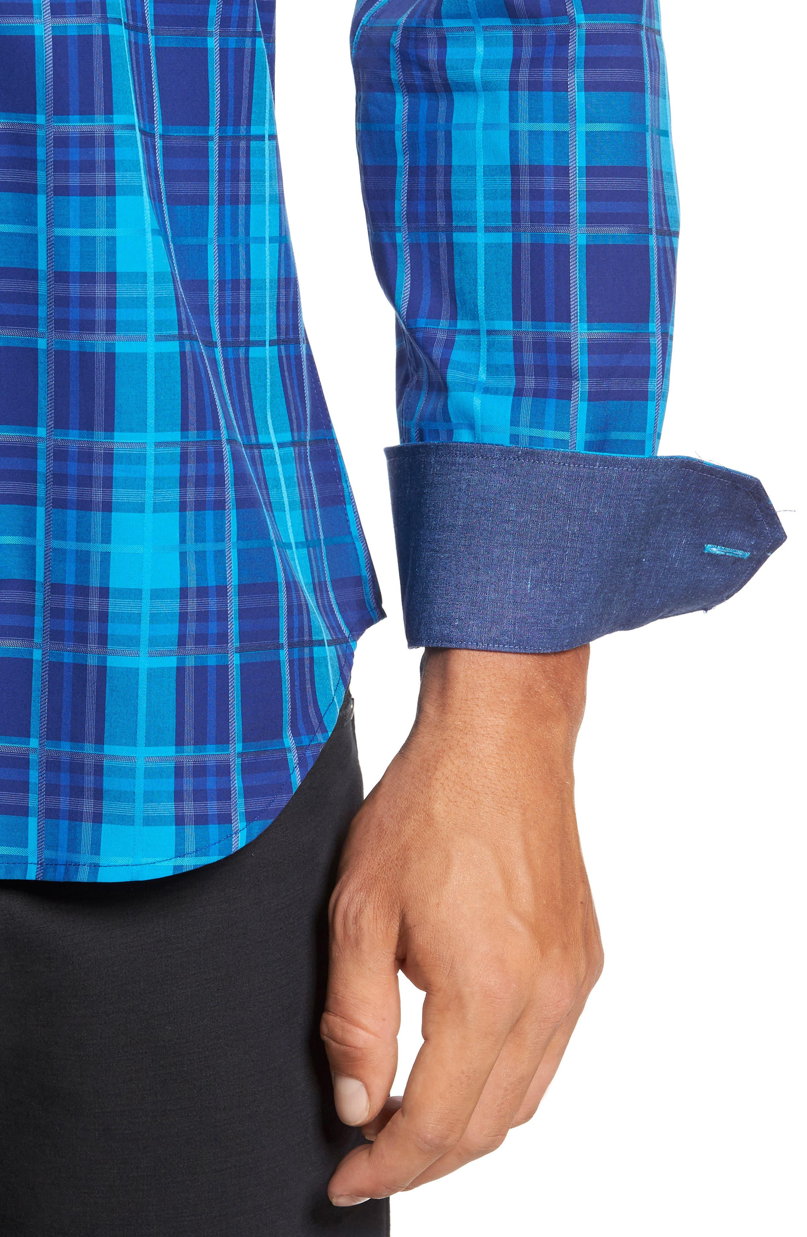 Trim Fit Plaid Sport Shirt,                             Alternate thumbnail 4, color,                             425